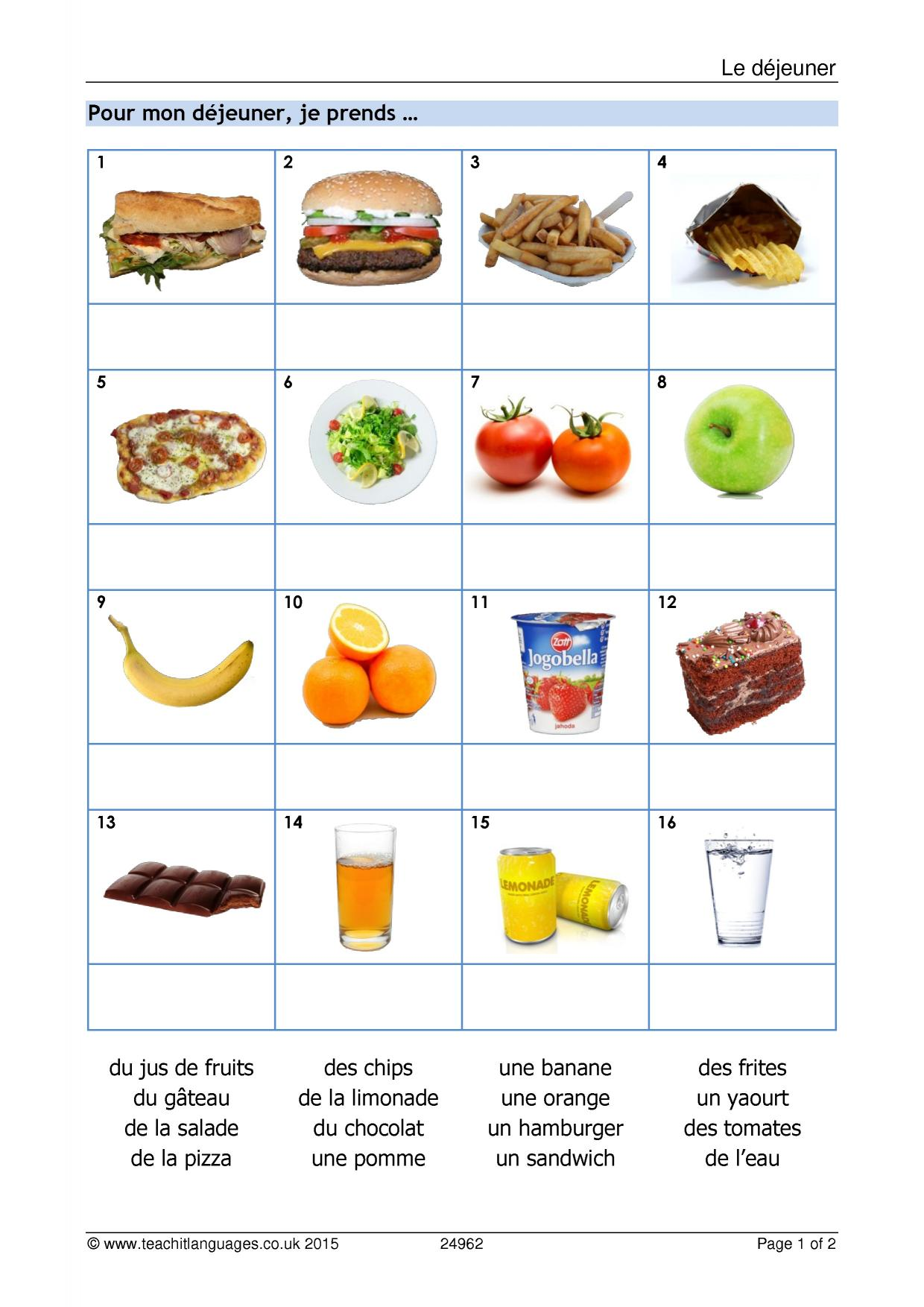 hight resolution of KS3 French   Food and drink   Teachit Languages