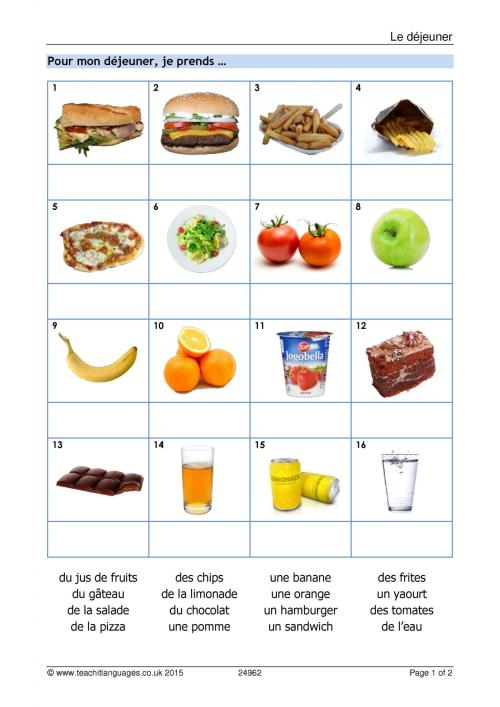 small resolution of KS3 French   Food and drink   Teachit Languages