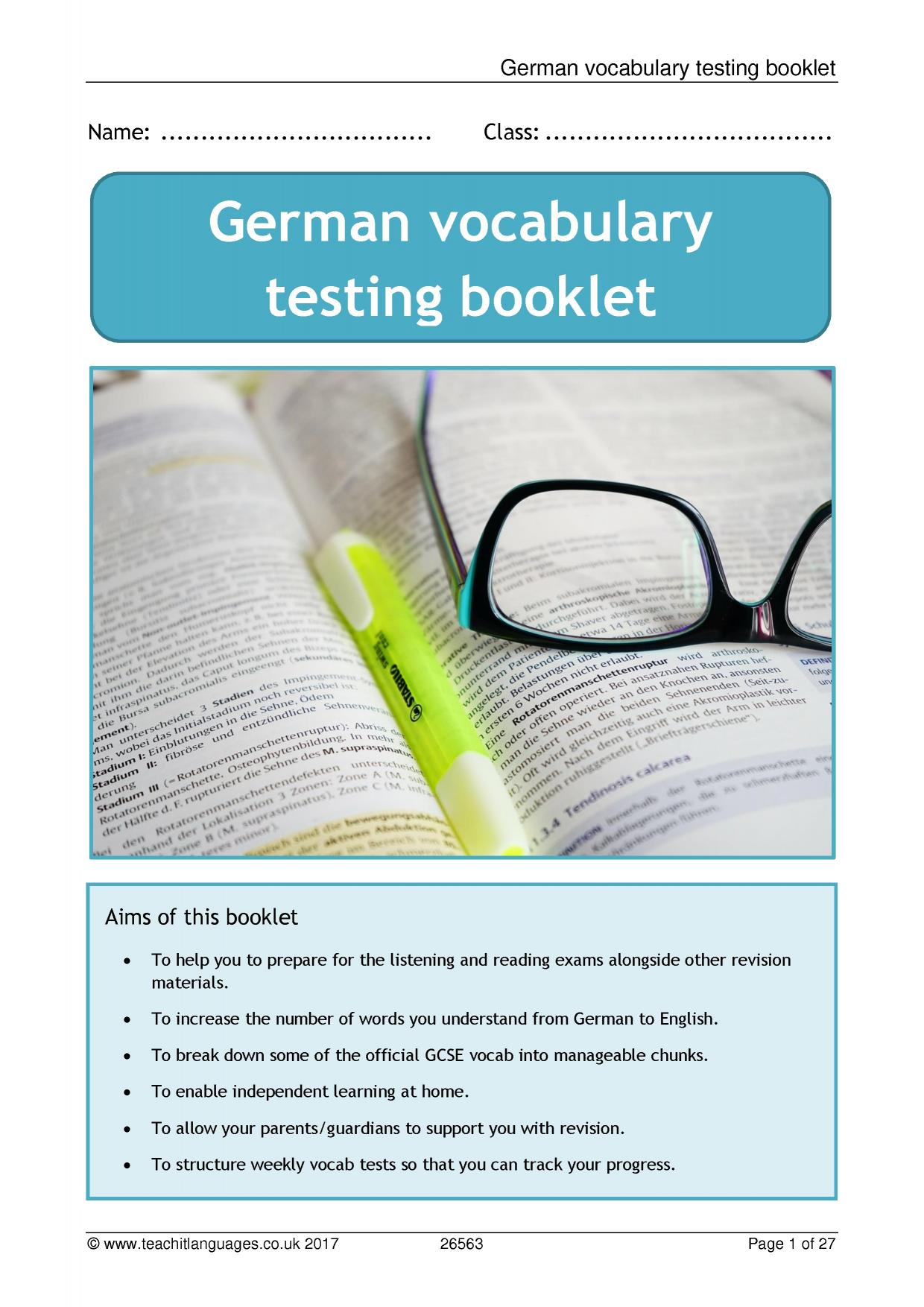 German Vocabulary Testing Booklet