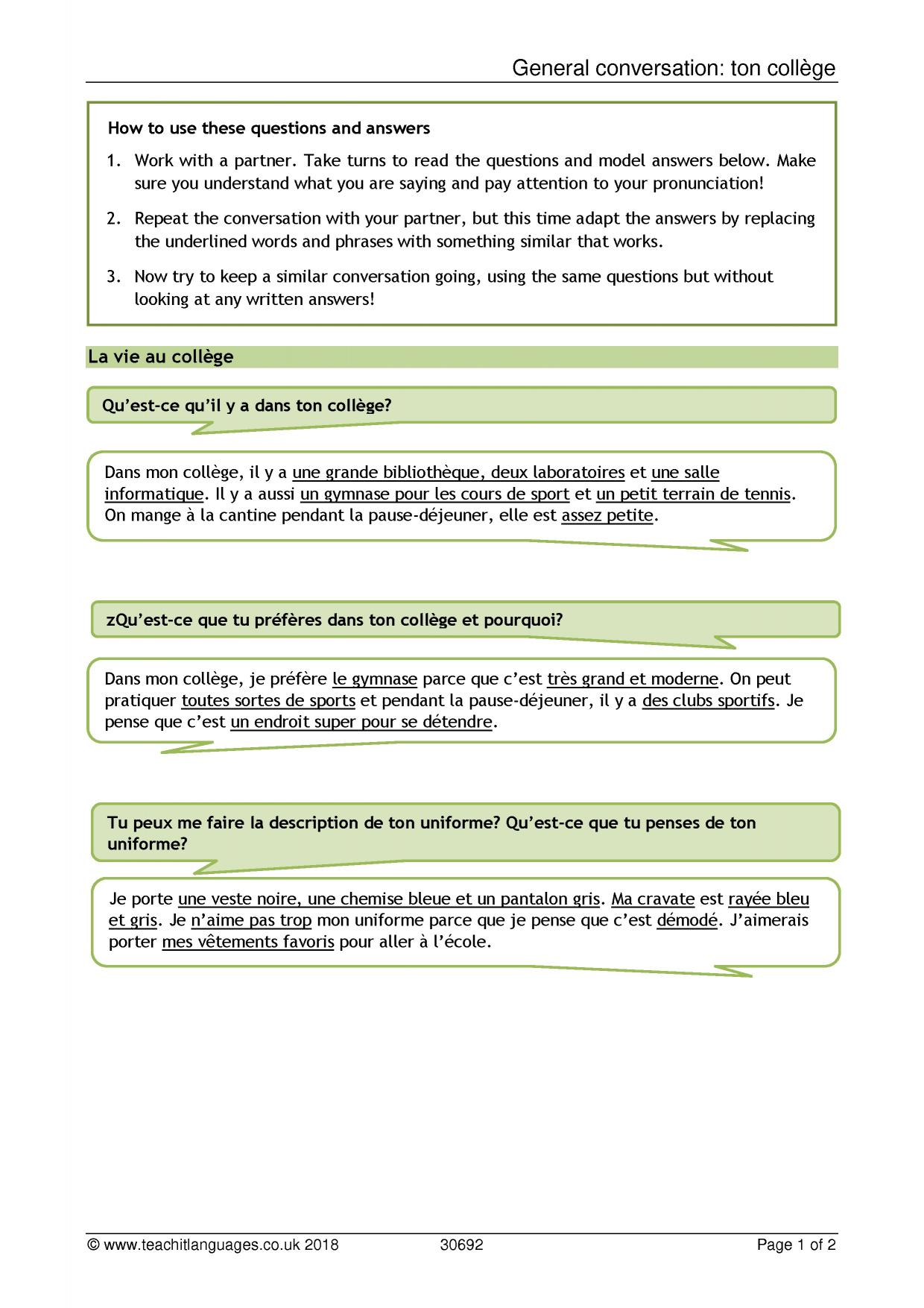 French Family Vocabulary Crossword La Famille Substitute