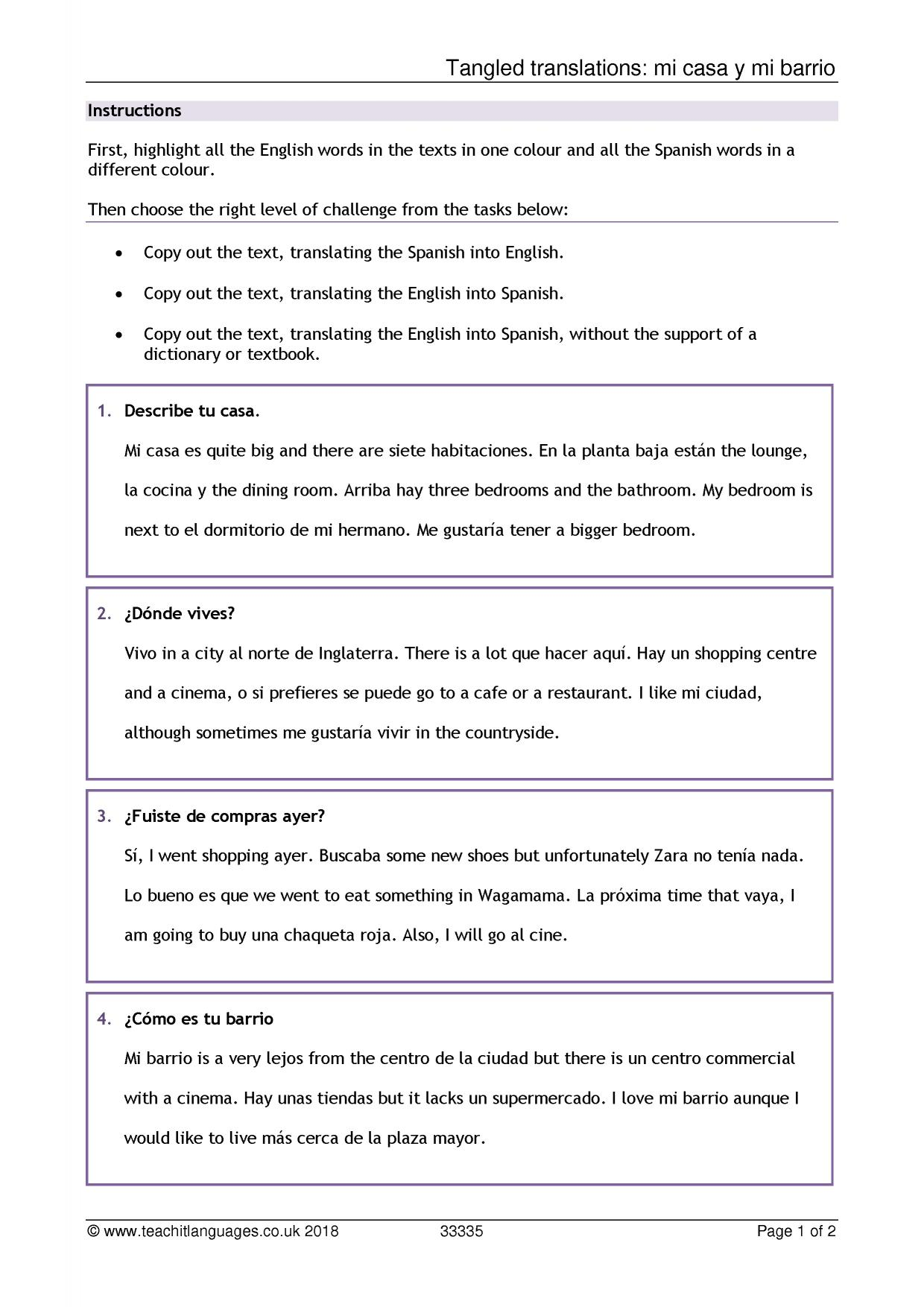 Year 7 Spanish Revision Worksheets