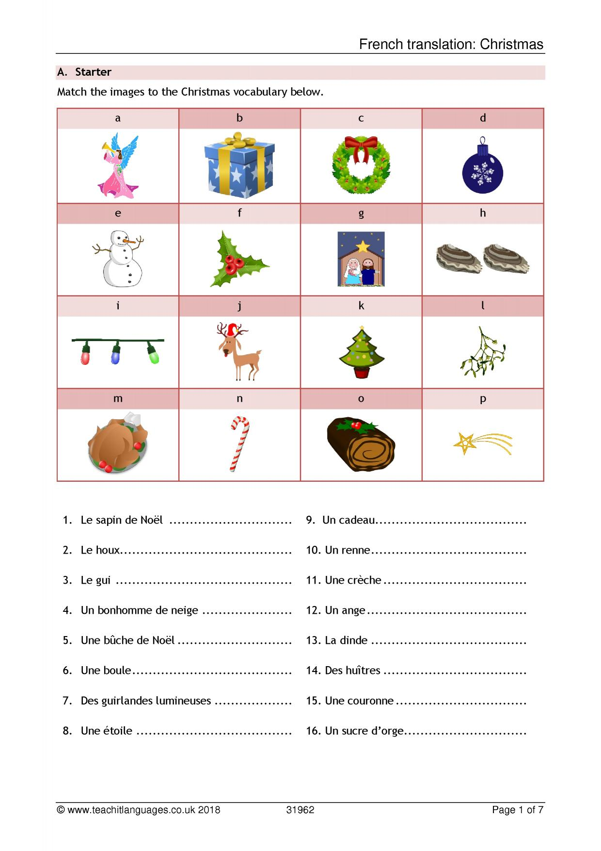 hight resolution of Christmas resources - Teachit Languages