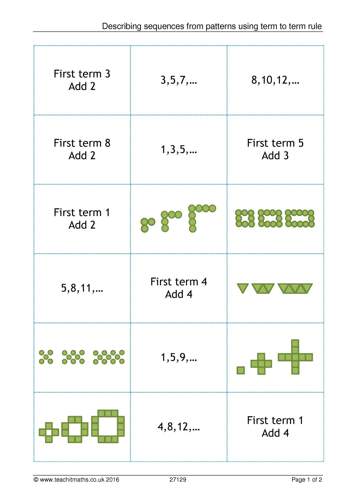 hight resolution of sequences - search results - Teachit Maths