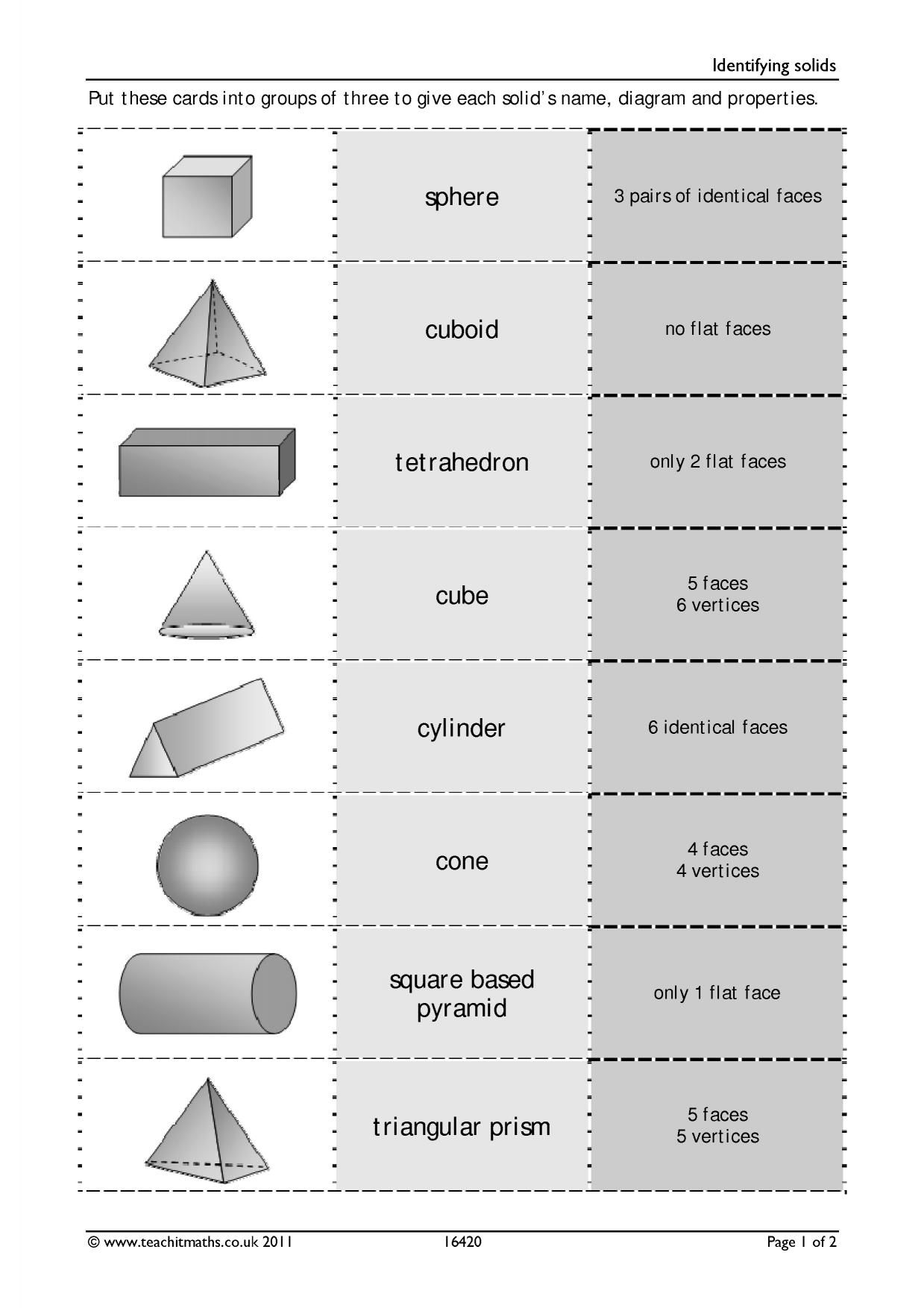 Reflections Of Shapes Worksheet