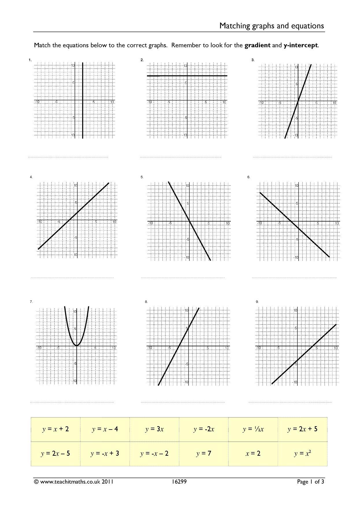 18 New Straight Line Graph Worksheets Ks4