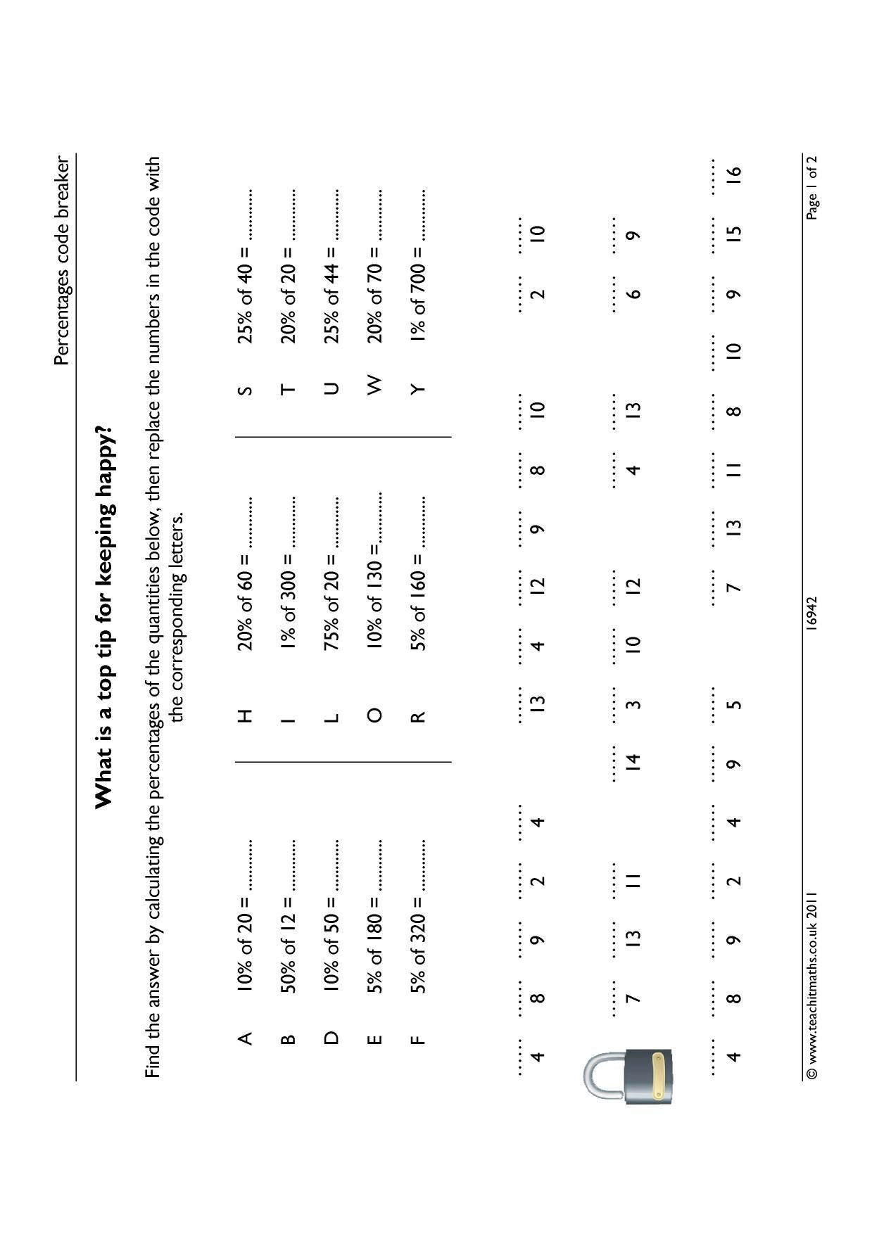 Percentages code breaker - Number - Percentages