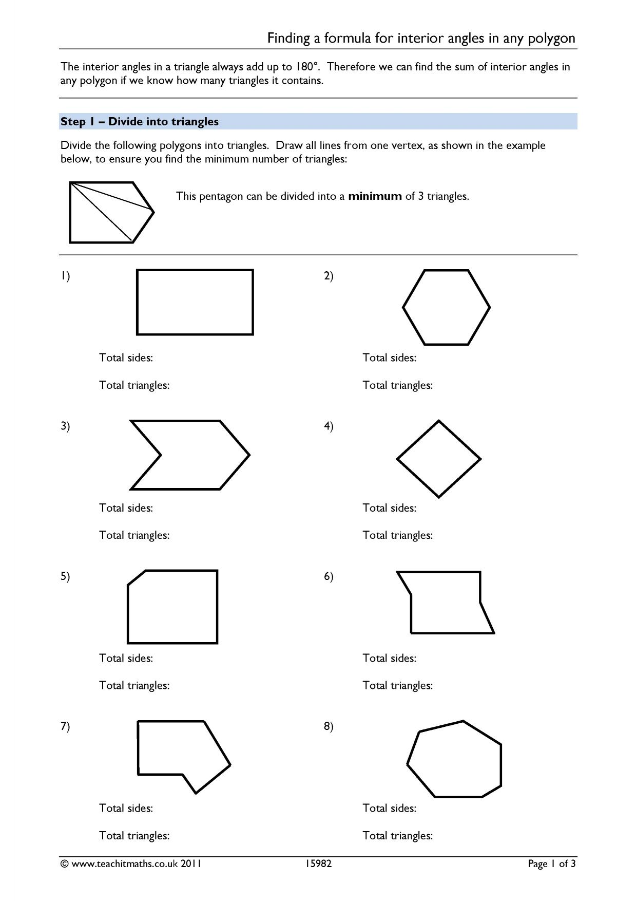 29 Polygon Angle Measures Worksheet