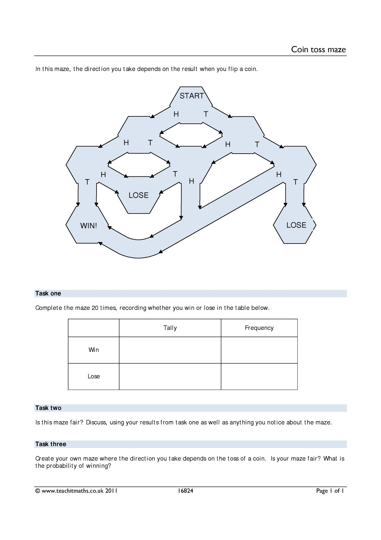 Ks4 Coin Toss Maze Worksheet