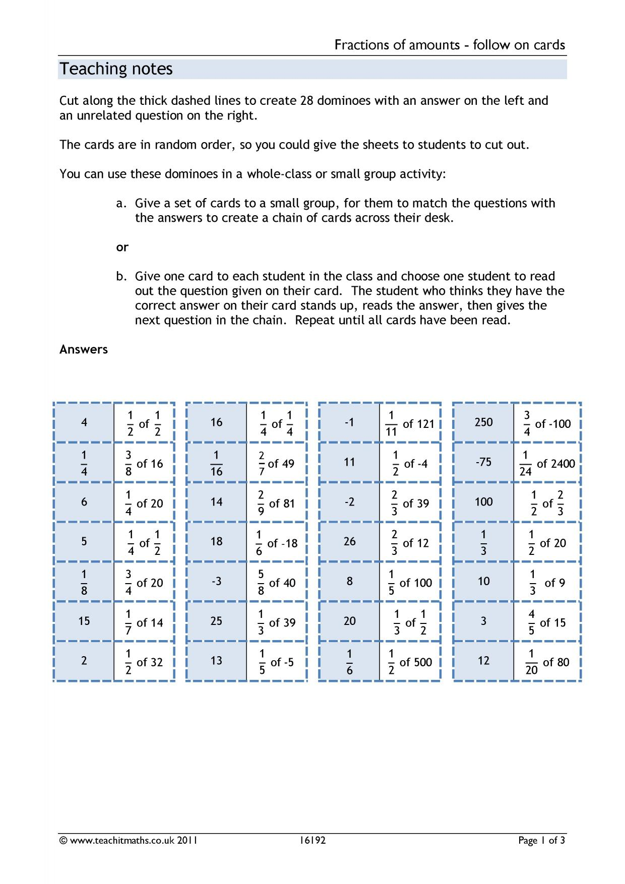 Fractions Of Quantities Ks4