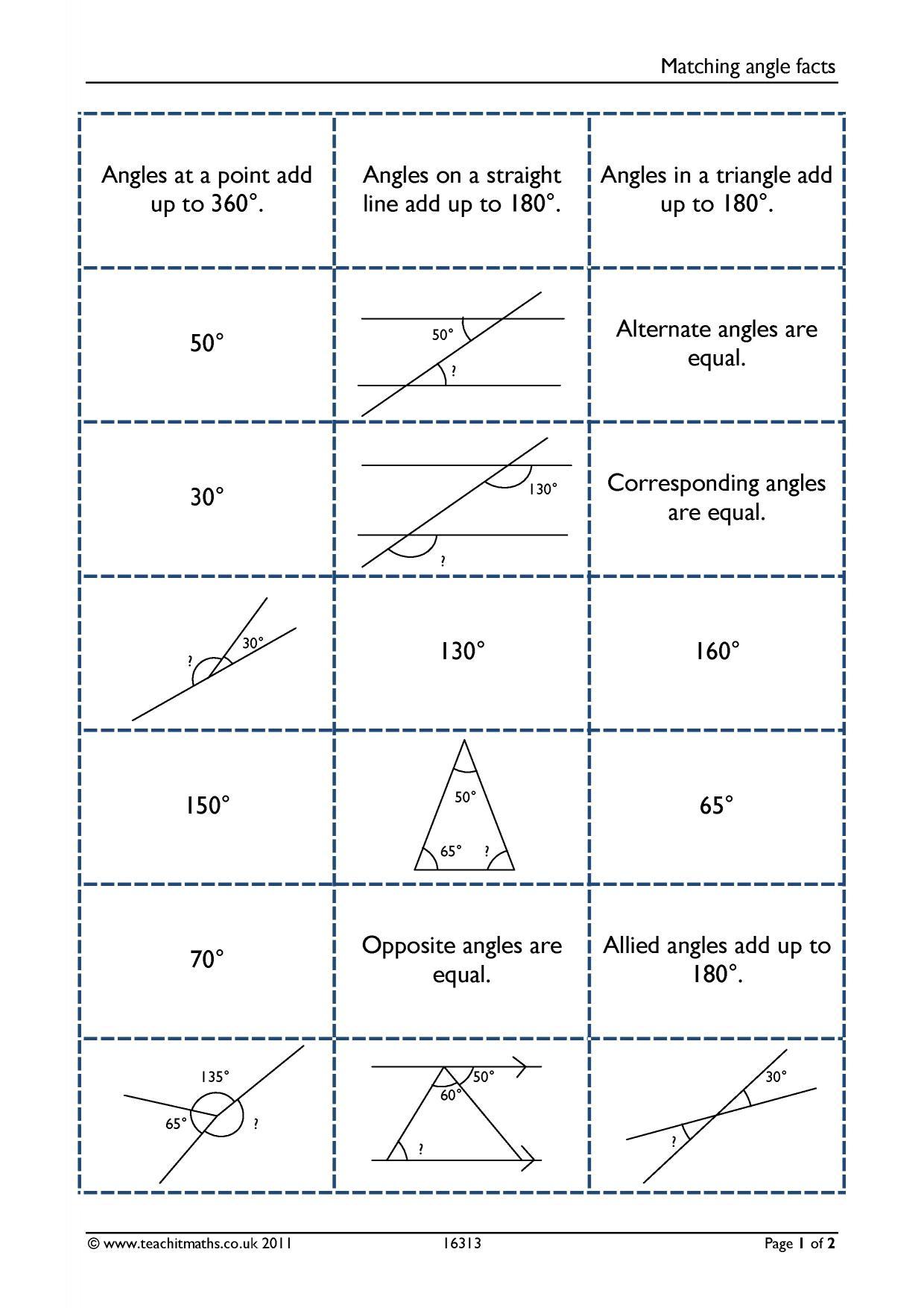 Matching Angle Facts