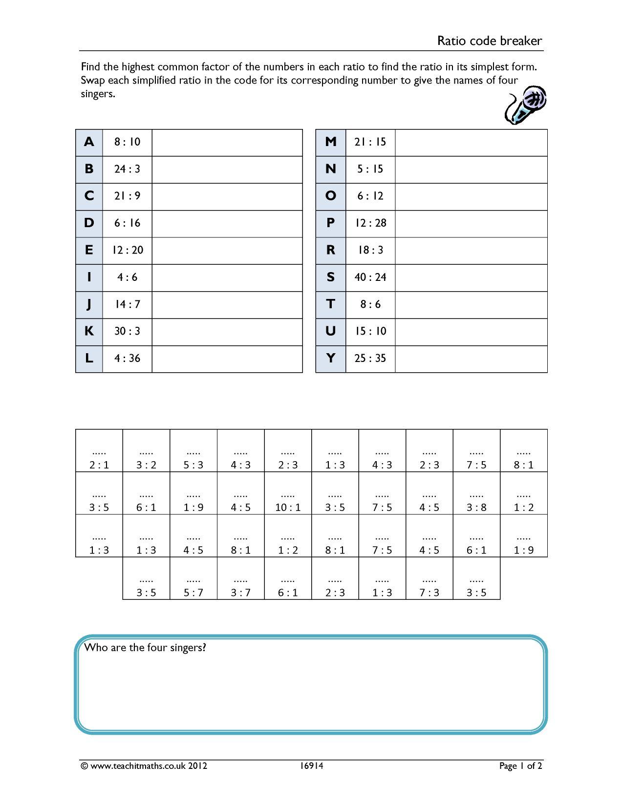 Multiplication Code Breaker Worksheets