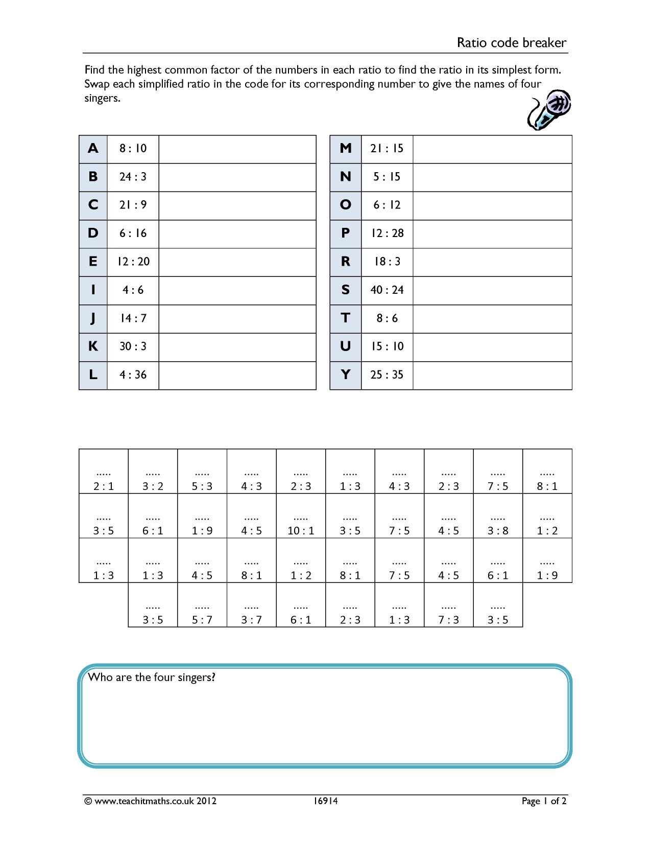 Comparings Ratio And Proportion Worksheet