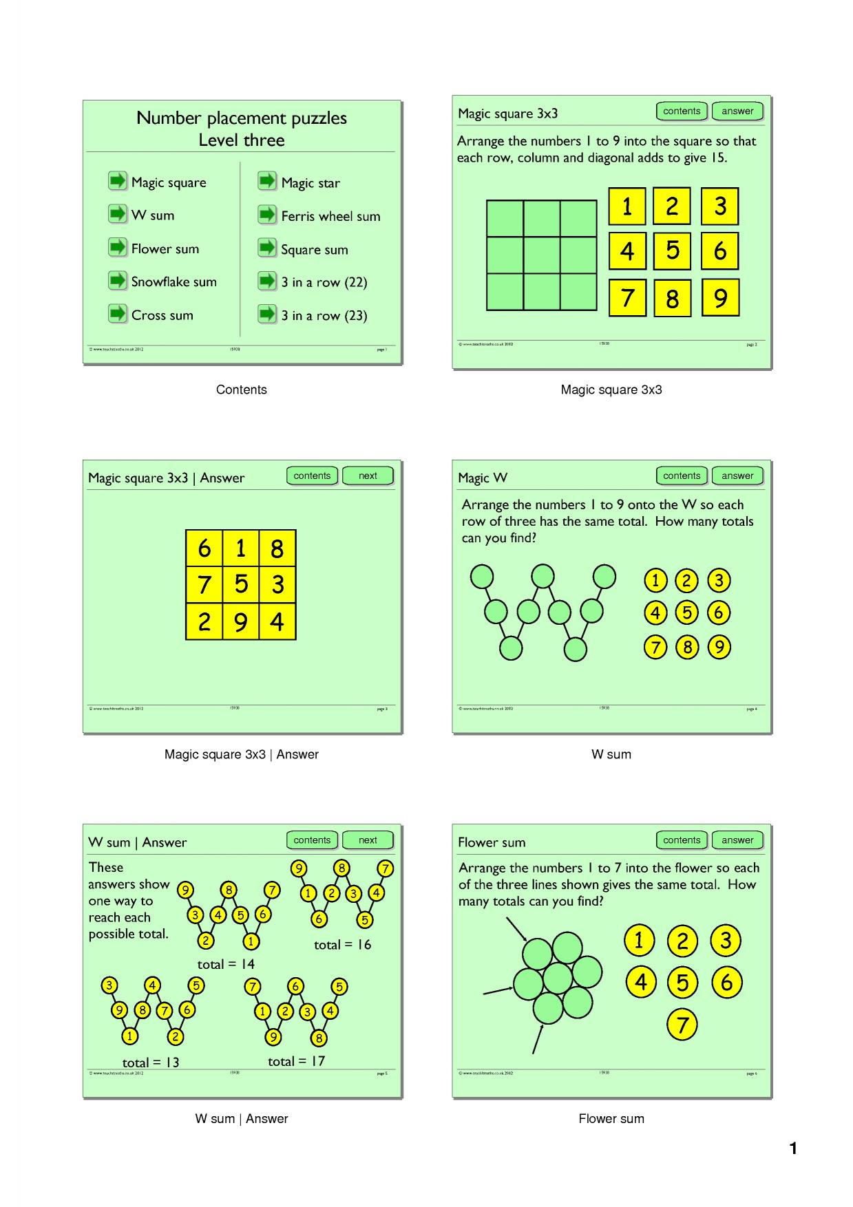 Math Worksheet Magic Squares