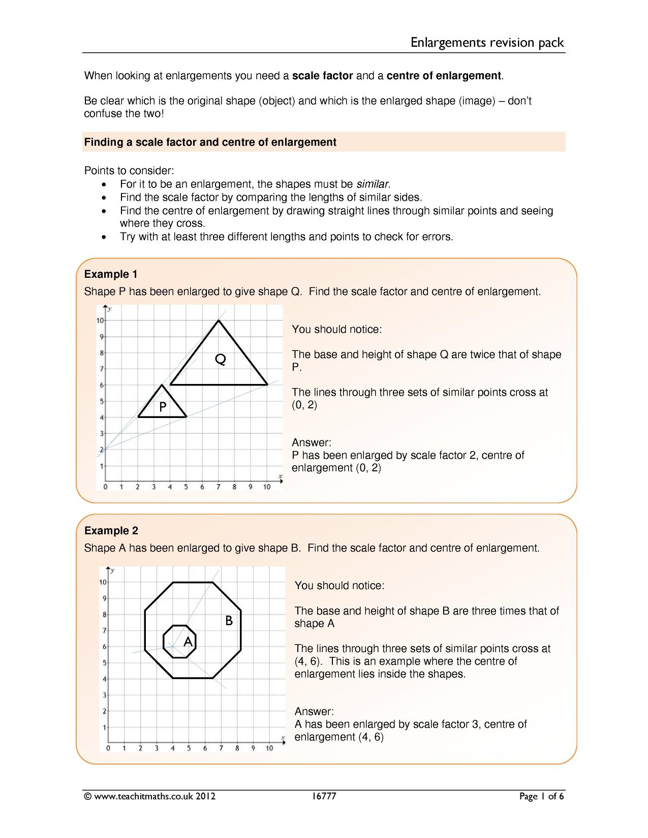 Volume Scale Factor Worksheet