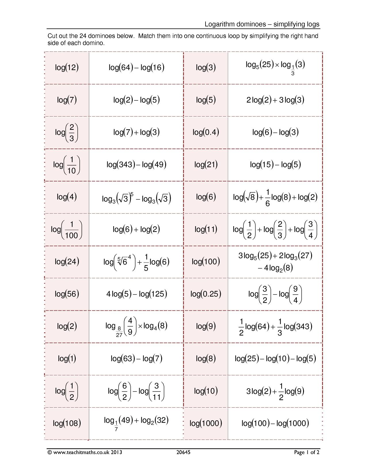 Logarithm Dominoes Simplifying Logs