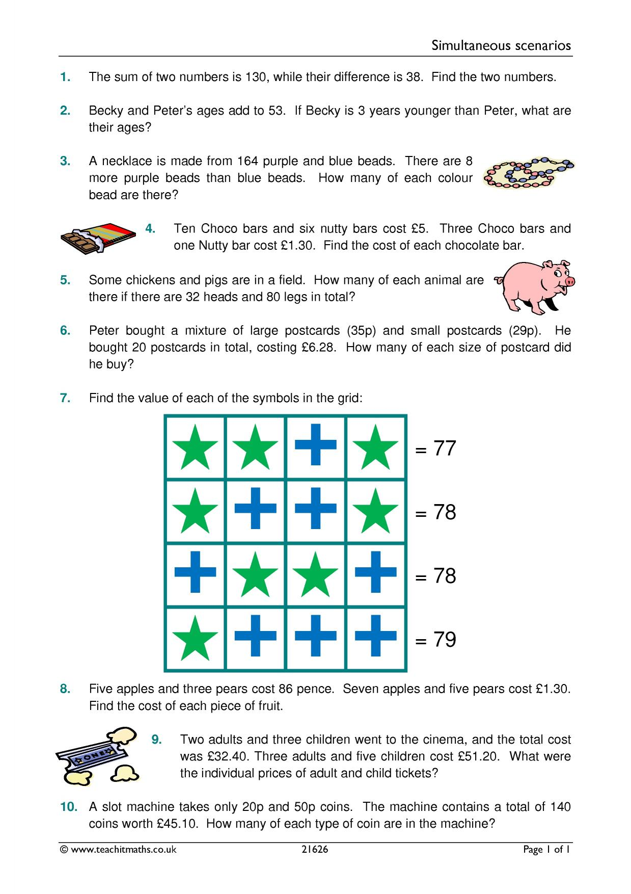 Simple Simultaneous Equations Worksheet