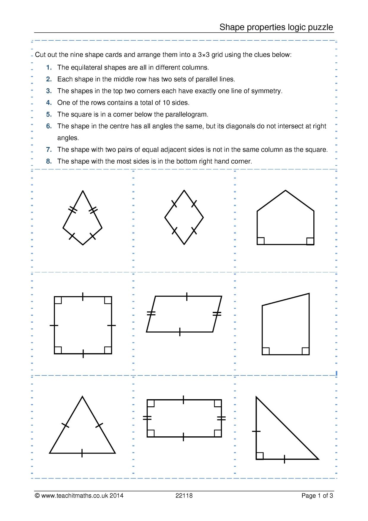 Identifying Shapes Worksheet Grade 3