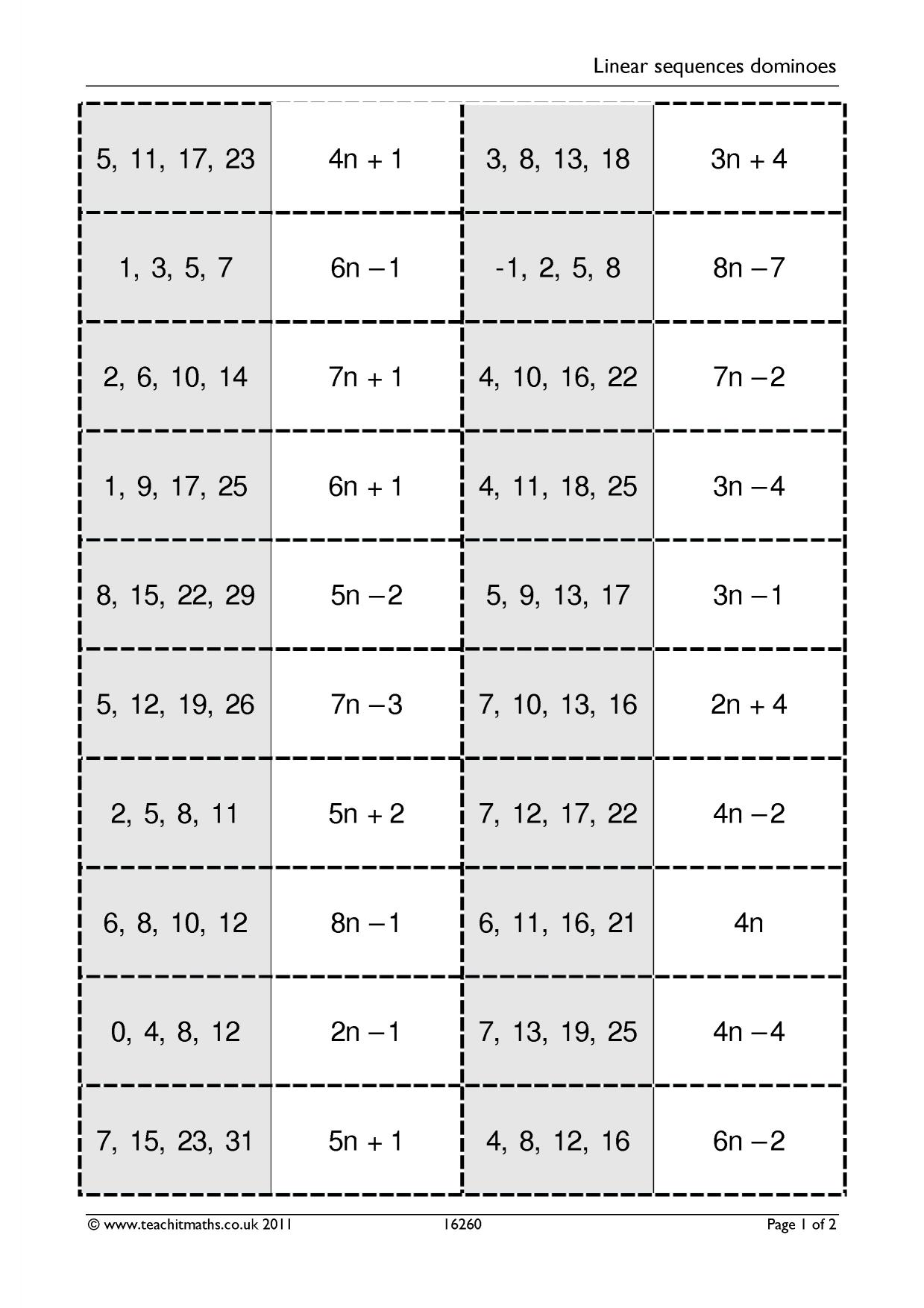 Linear Sequences Dominoes