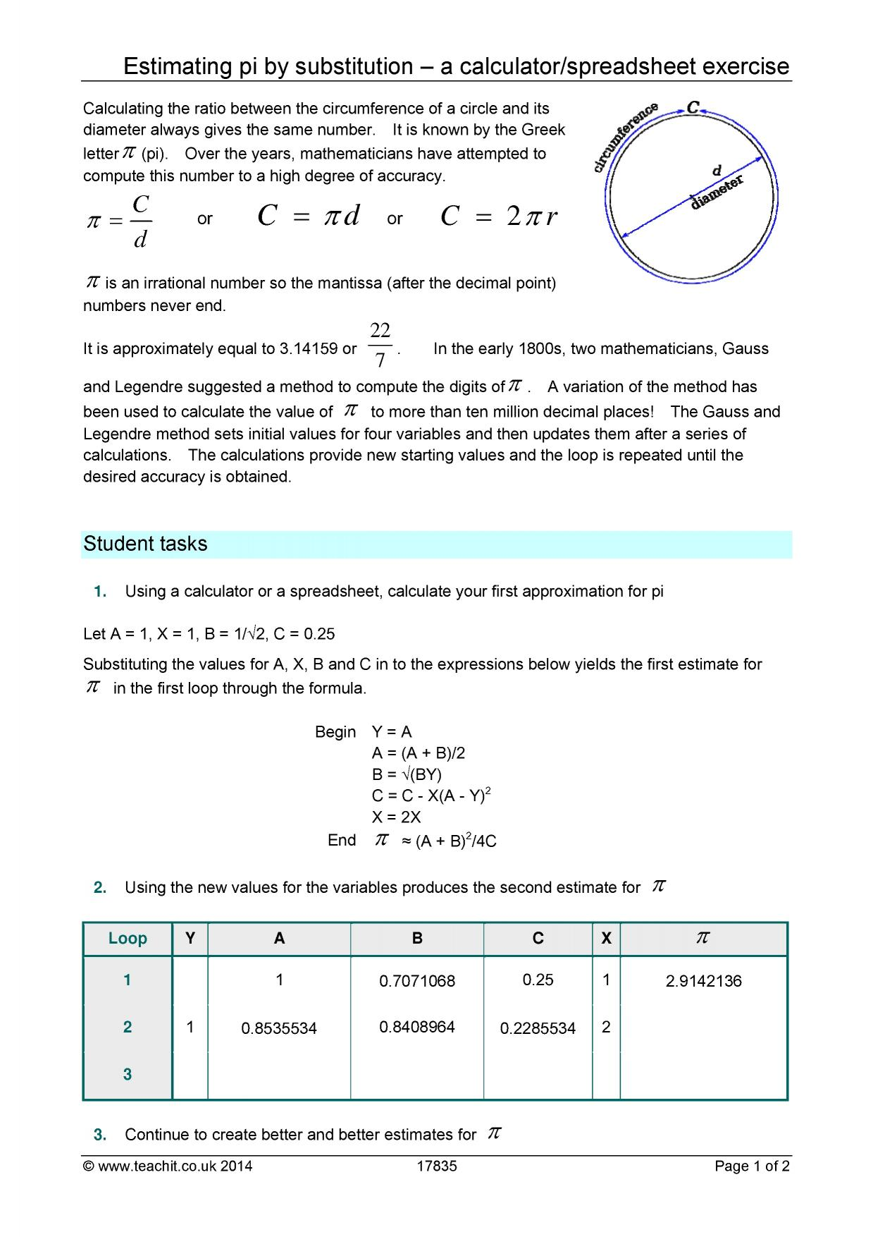 Estimating Pi By Substitution A Calculator Spreadsheet Exercise