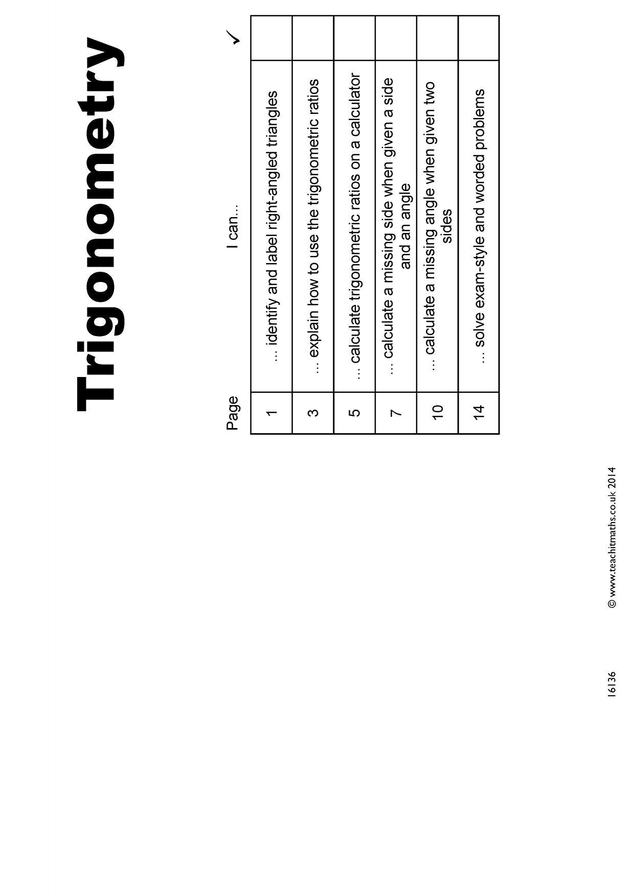 Trigonometry Sohcahtoa