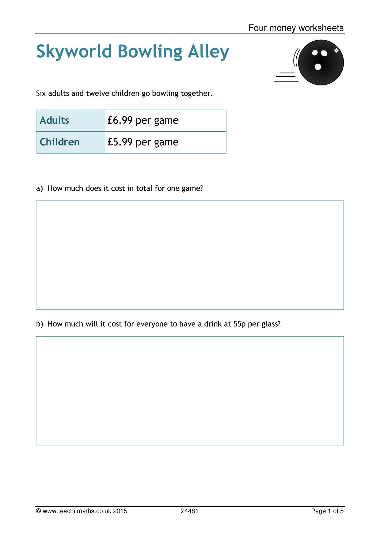 Four Money Worksheets