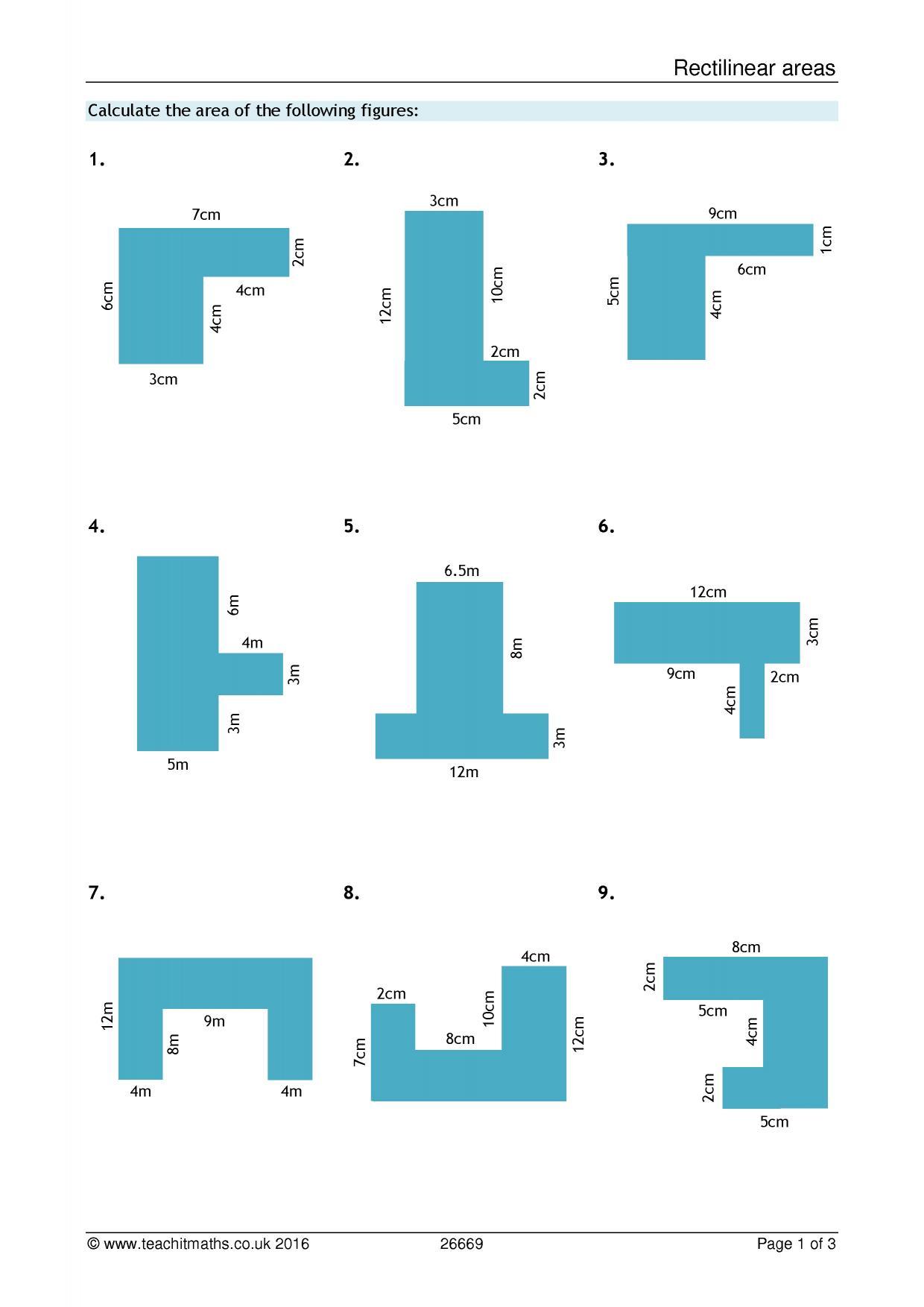 Area Of Compound Shapes Worksheet