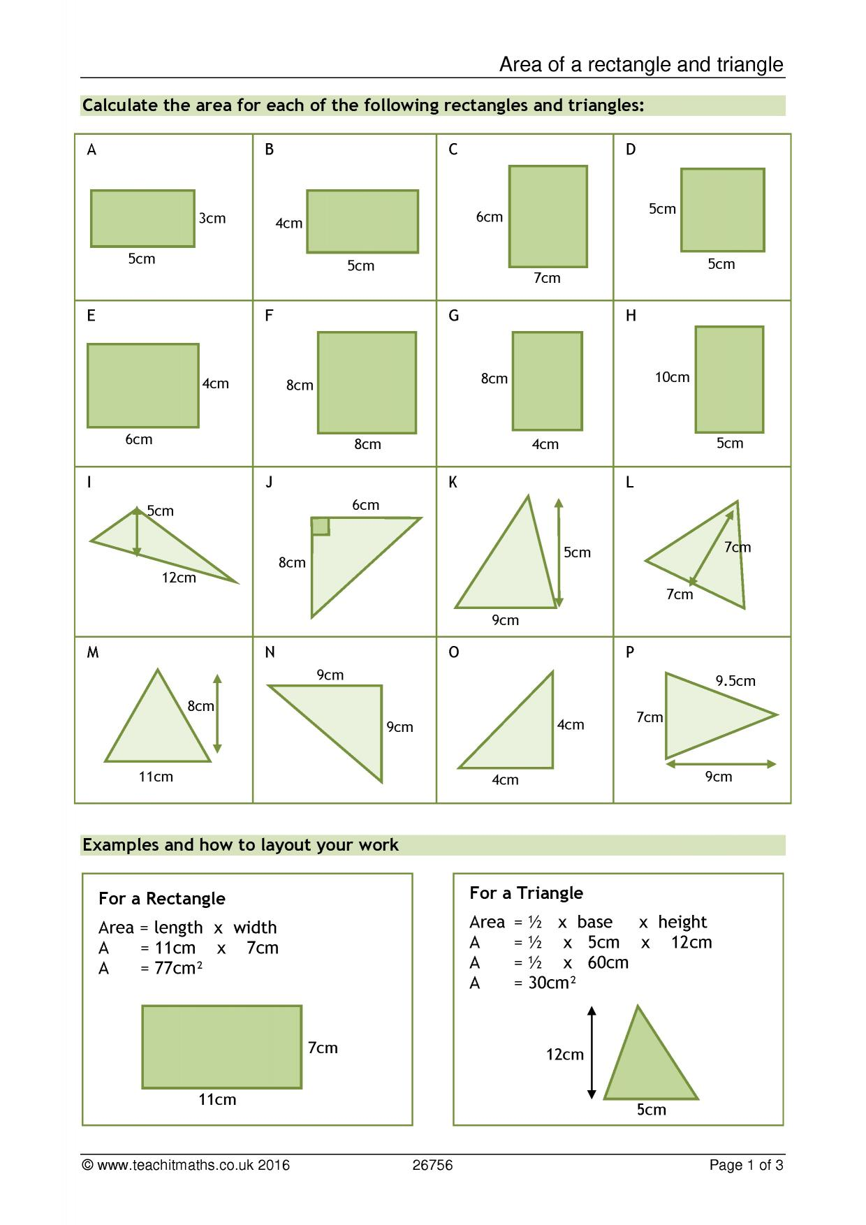 Areas Of Rectangles And Triangles