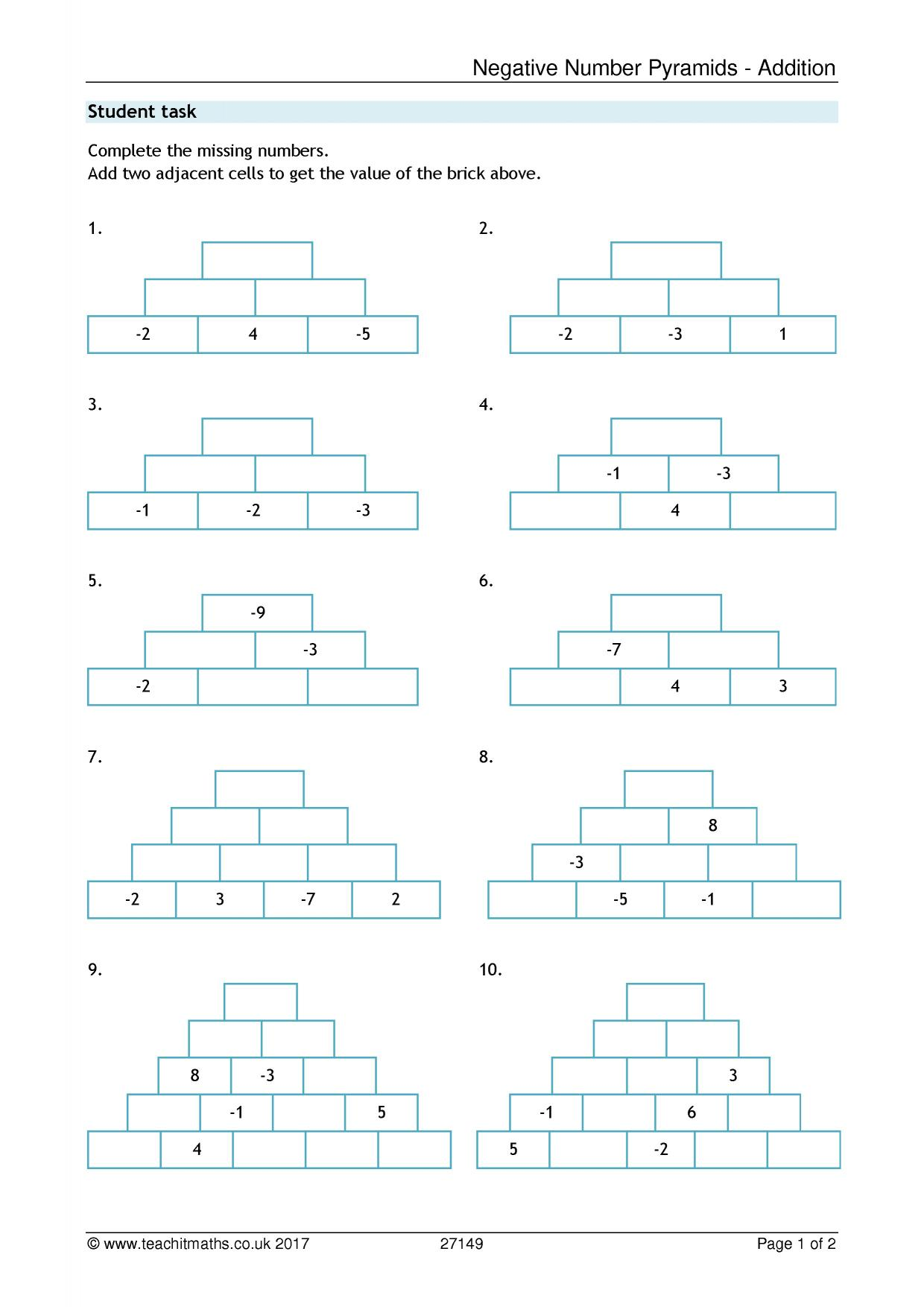 Negative Numbers Pyramid Addition