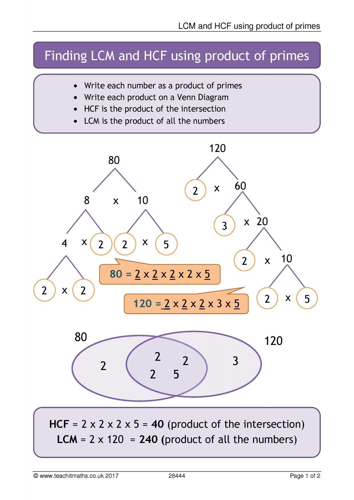 hcf and lcm using venn diagrams 2002 chevrolet silverado radio wiring diagram ks3 number properties  prime factors teachit maths