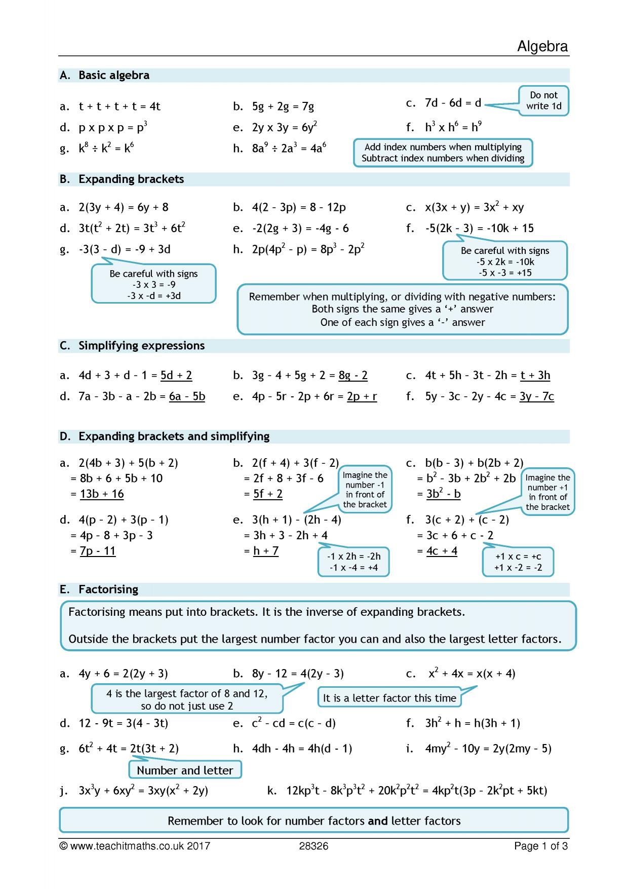 36 Algebra 1 Worksheets Word Problems Printable Zip
