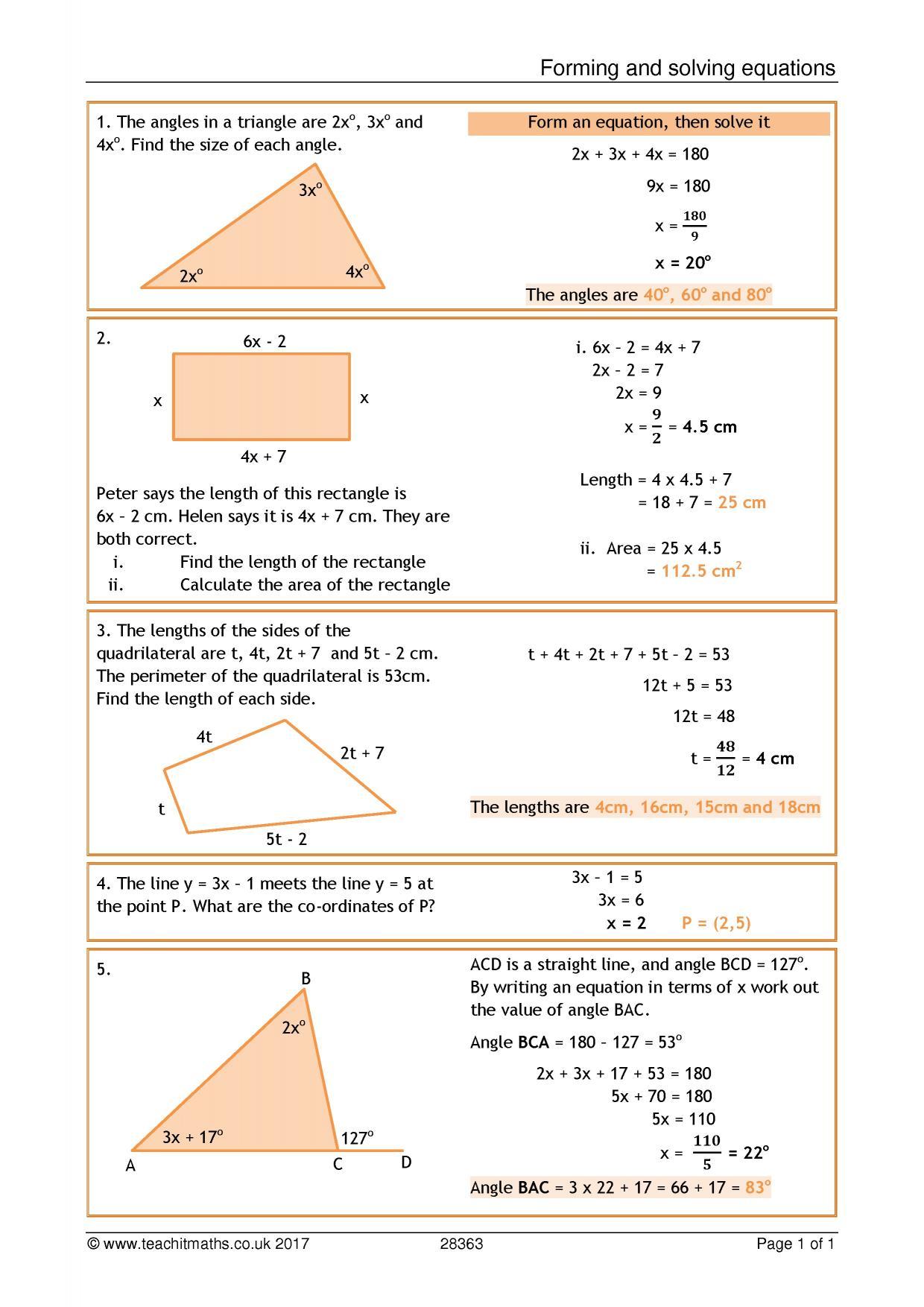 Quadratic Equations Solving Simultaneous Equations