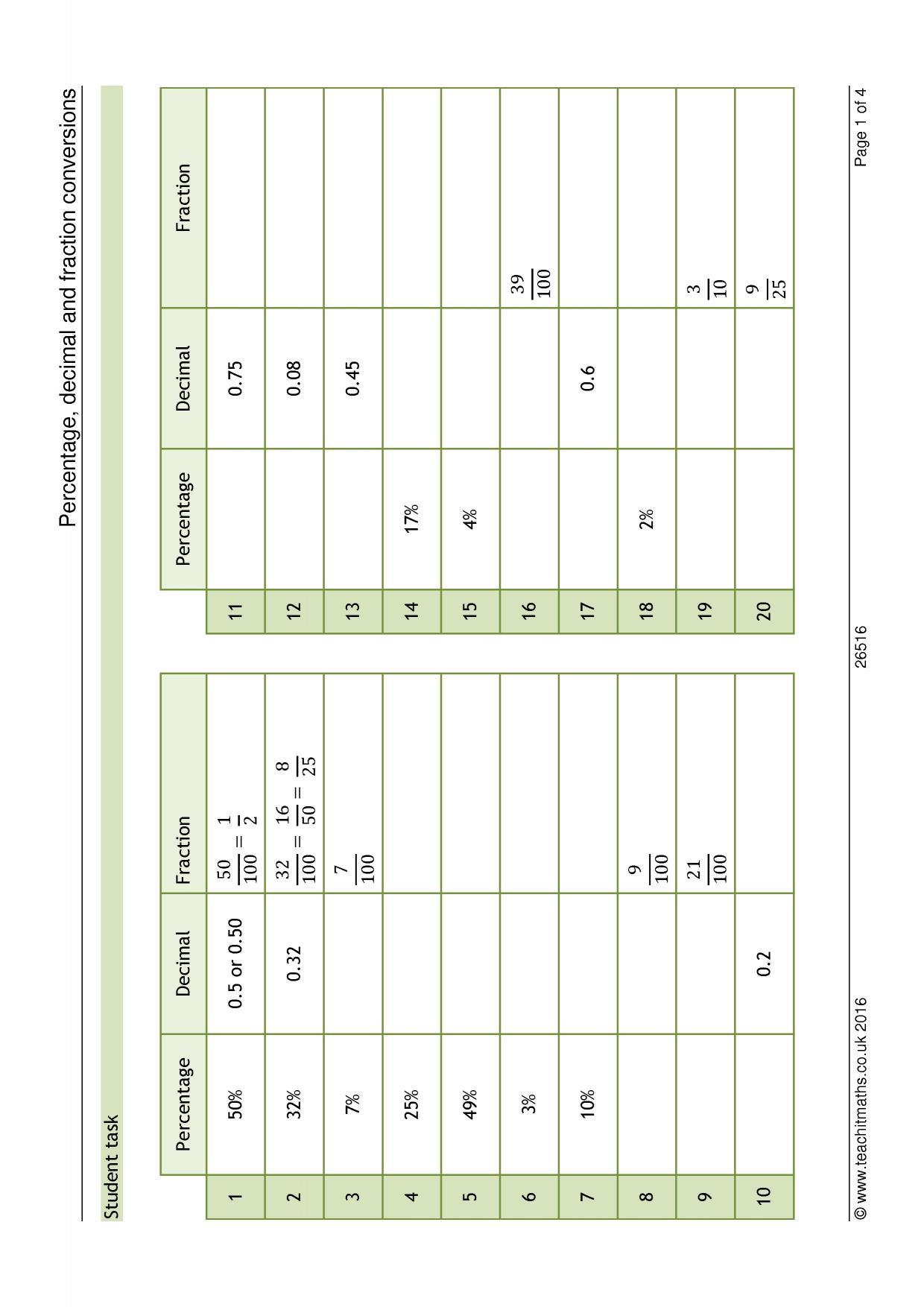 Matching Equivalent Fractions Worksheet