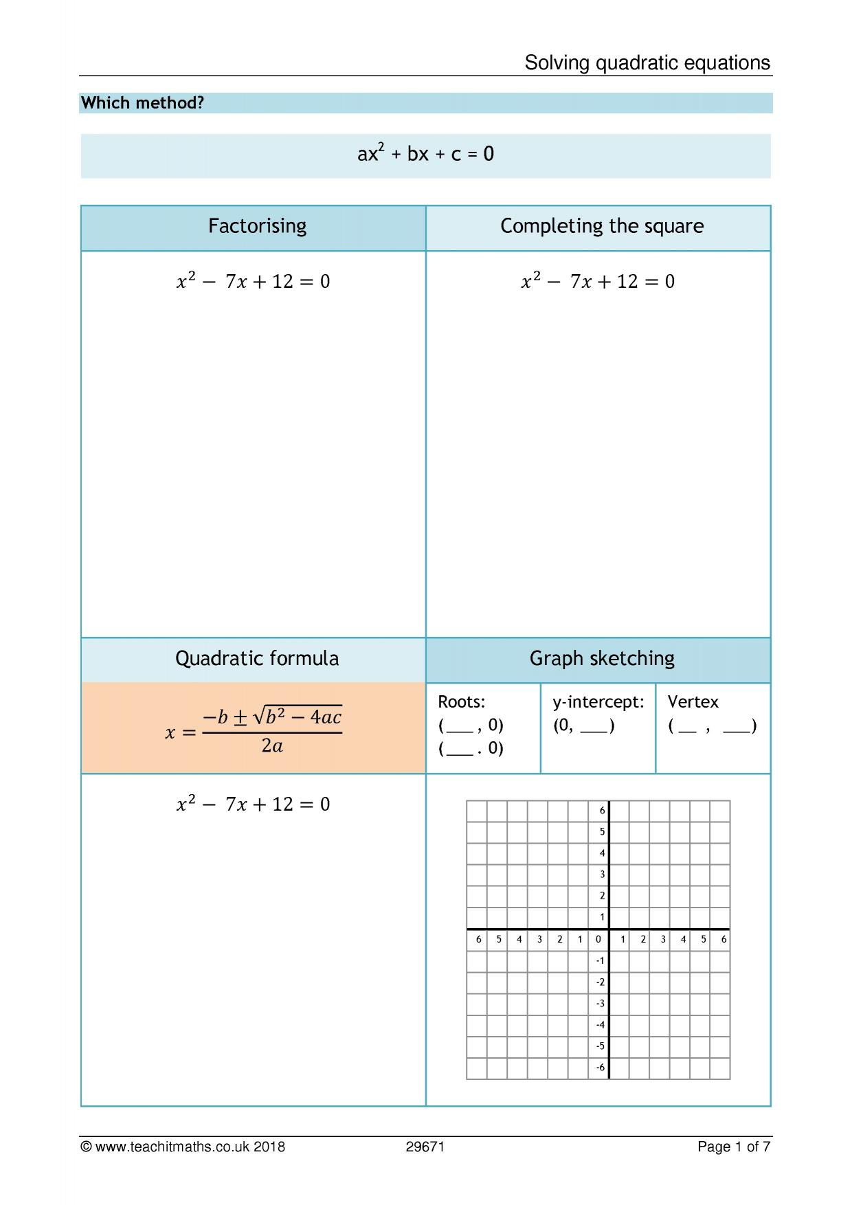 Quadratics The Quadratic Equation