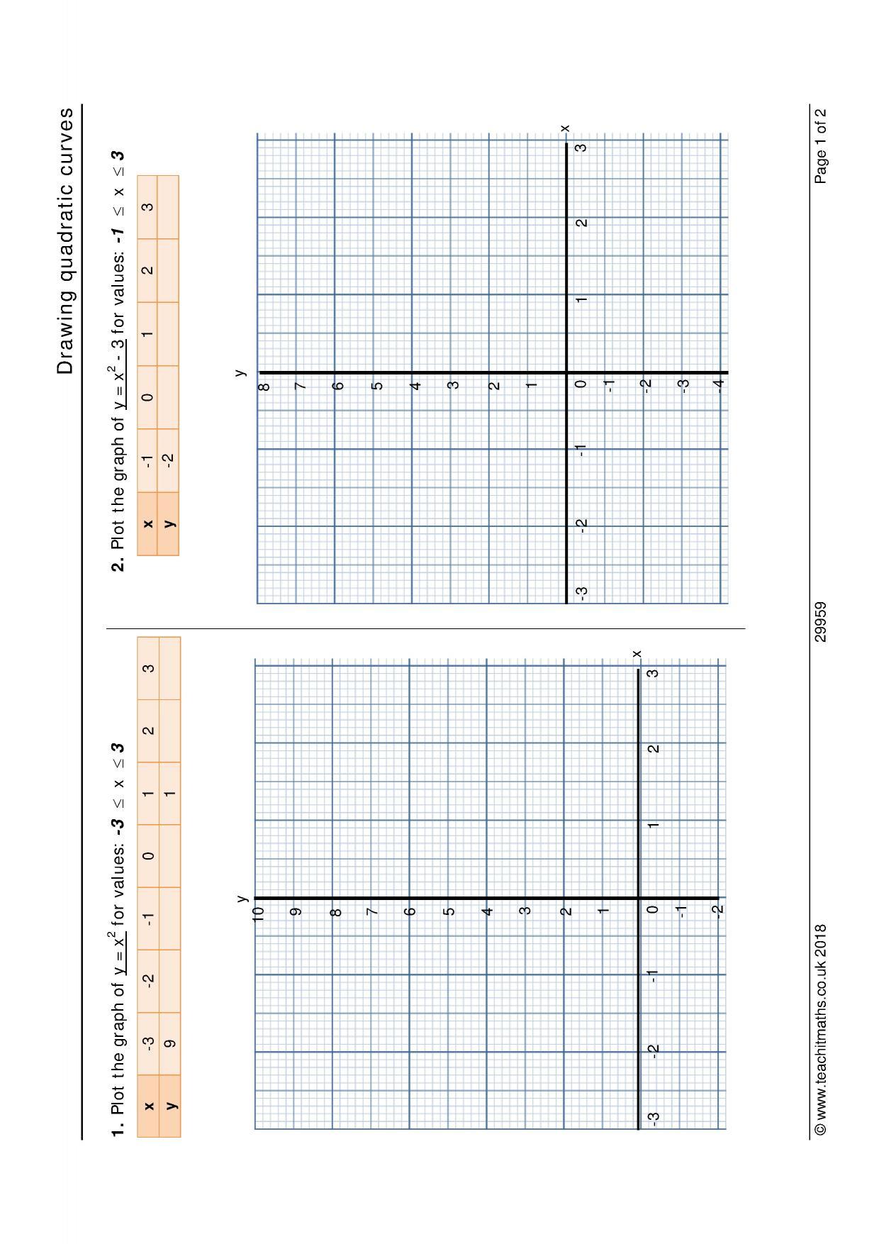 Matching Quadratic Equations To Graphs Worksheet