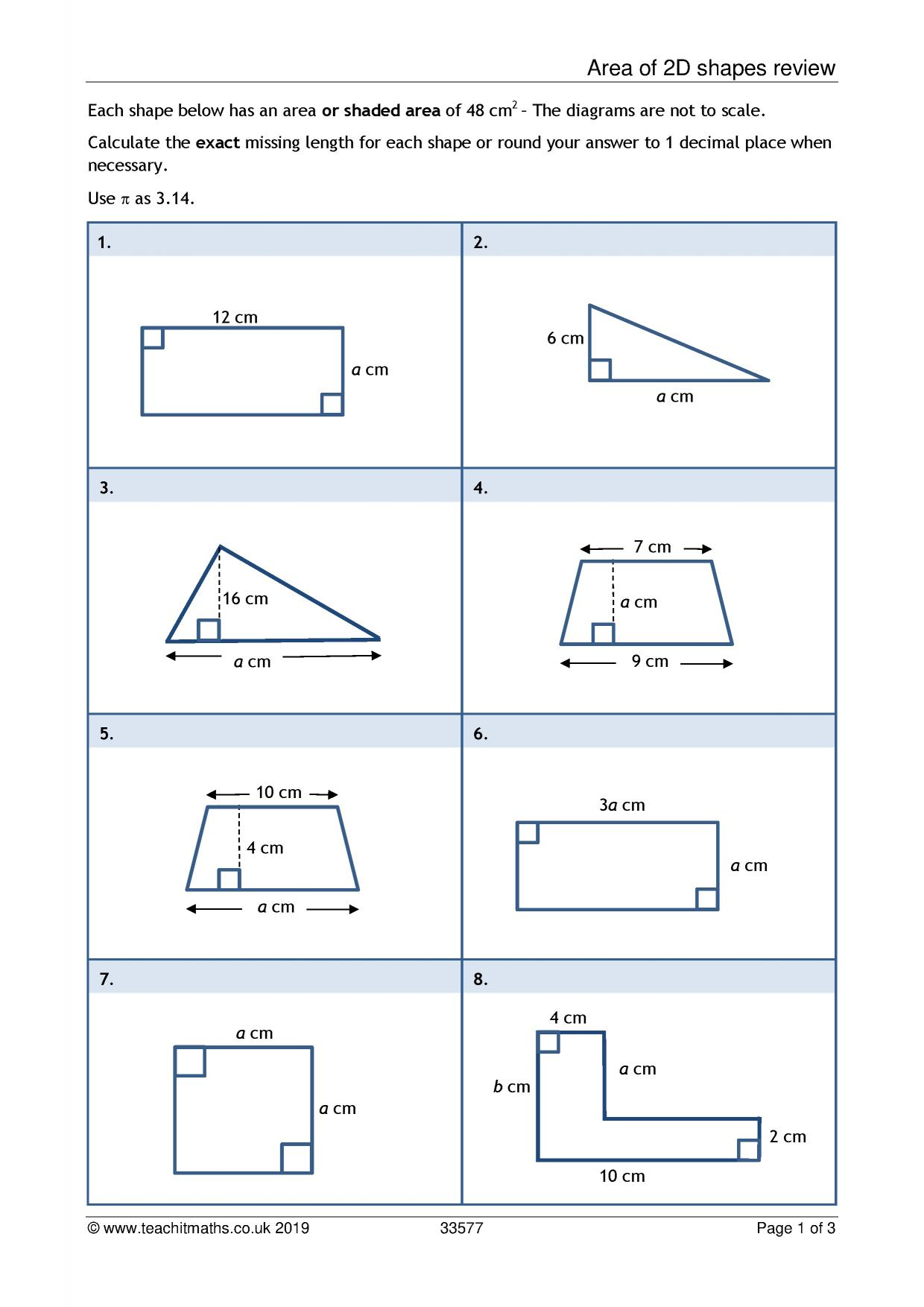Printables Of Perimeter And Area Worksheets Ks3