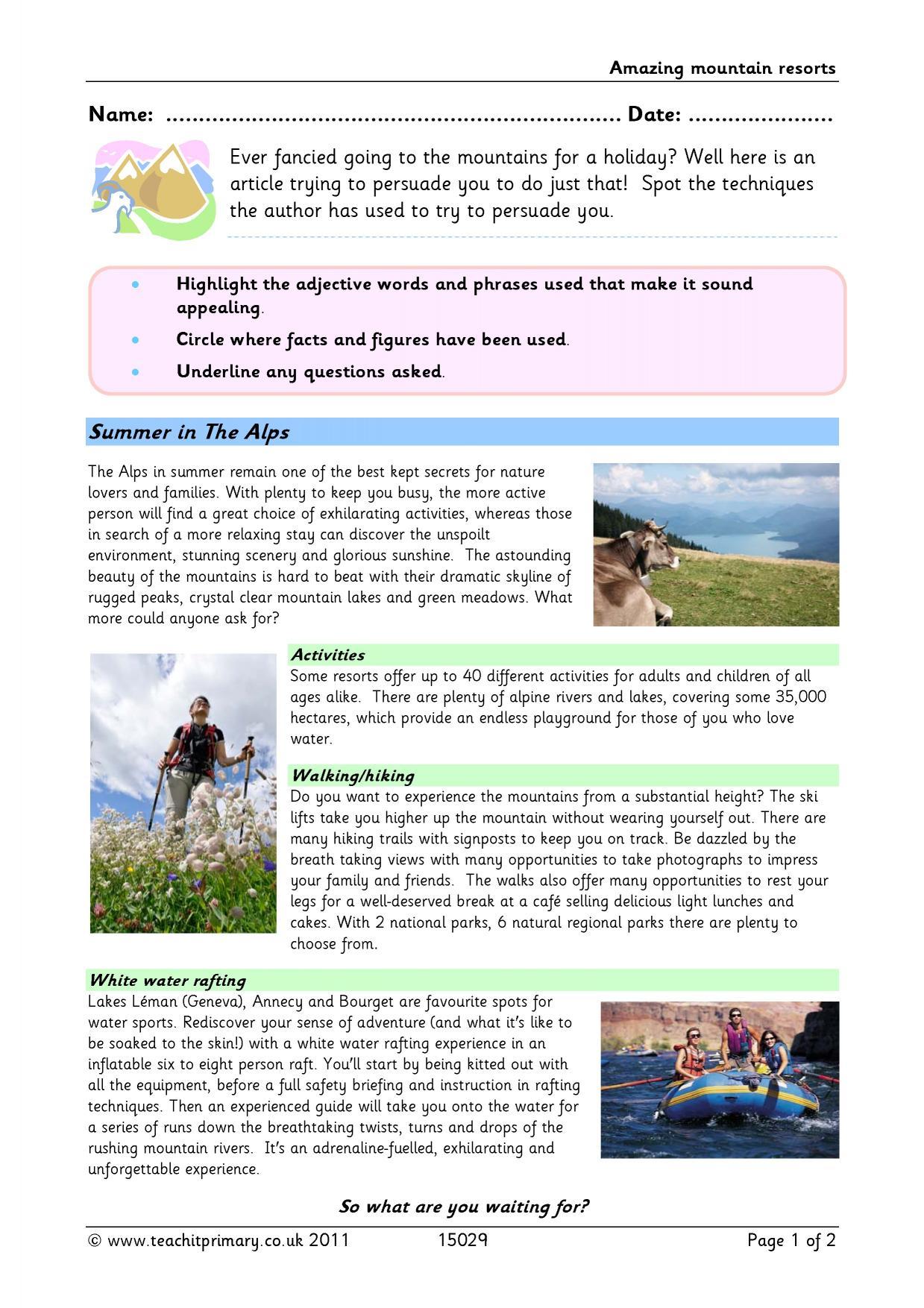 Brochure Writing Amazing Mountain Resorts