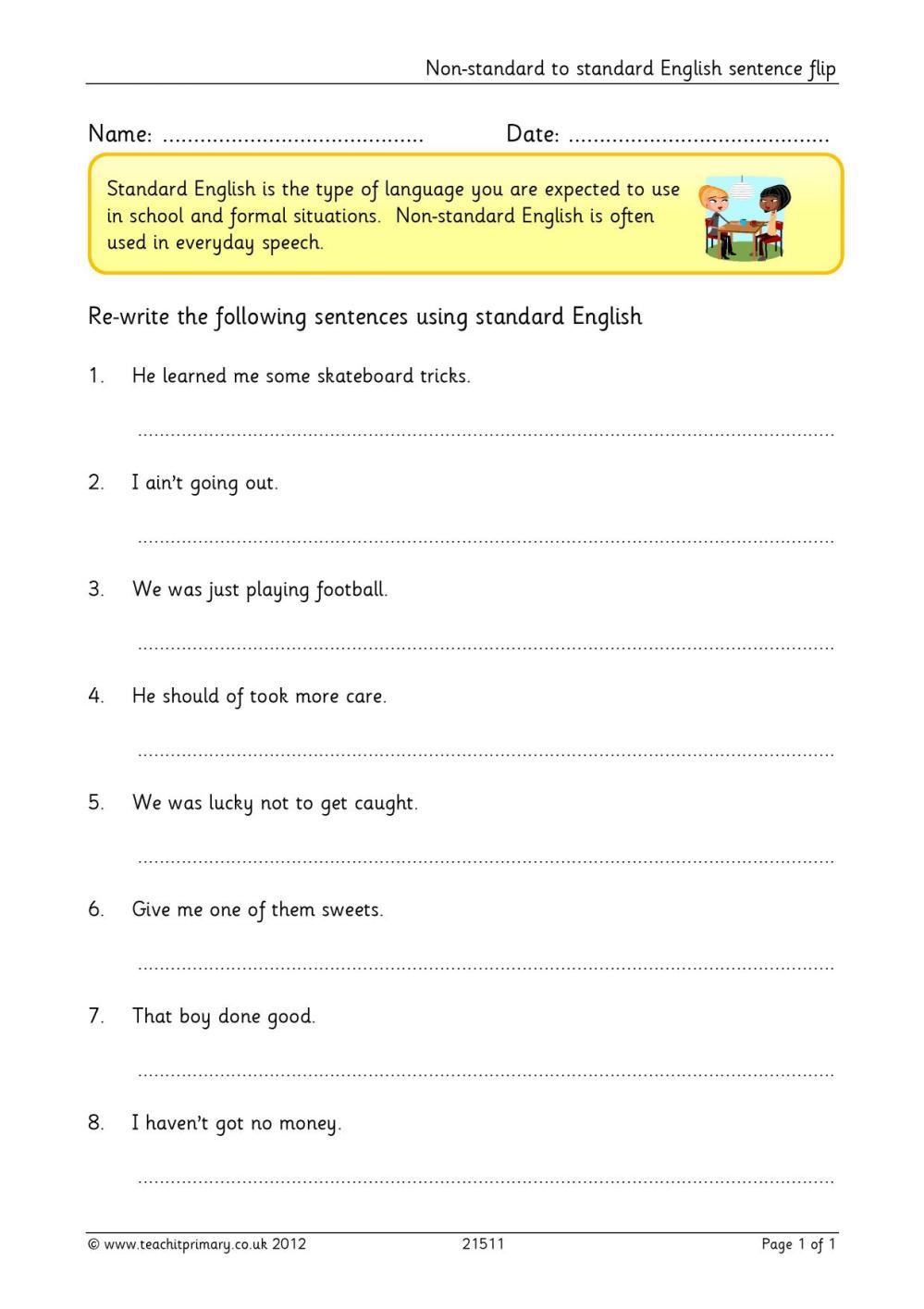medium resolution of Non-standard to standard English sentence flip