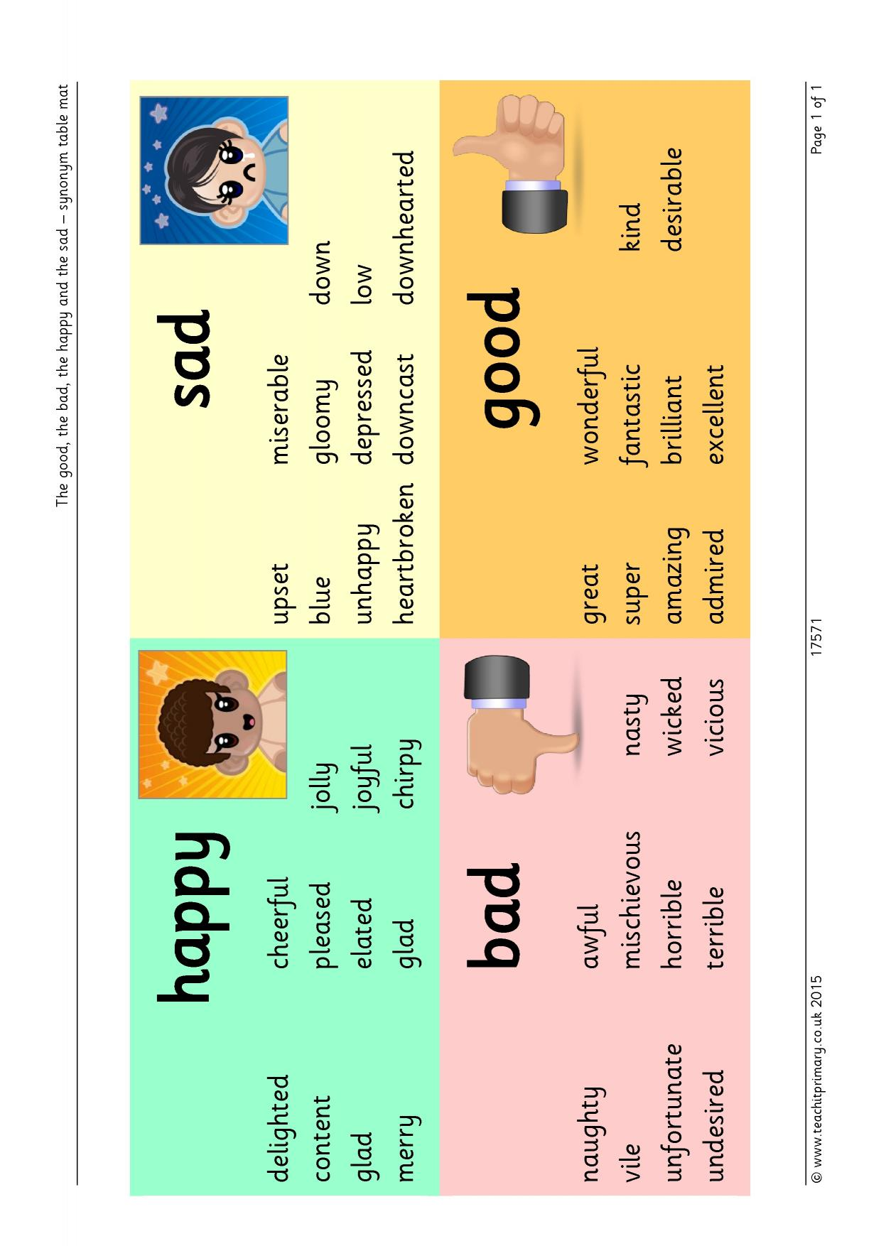 The good. the bad. the happy and the sad - synonym word mat - Synonyms and antonyms - Display - Home page