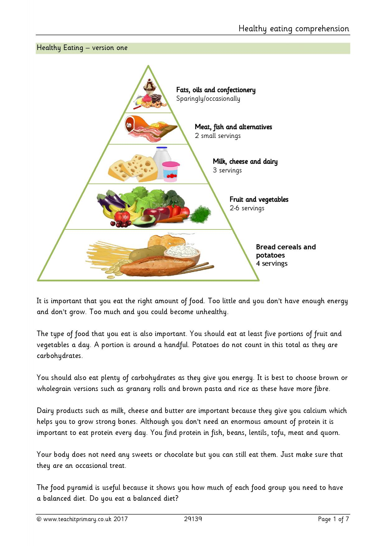 hight resolution of Healthy eating comprehension