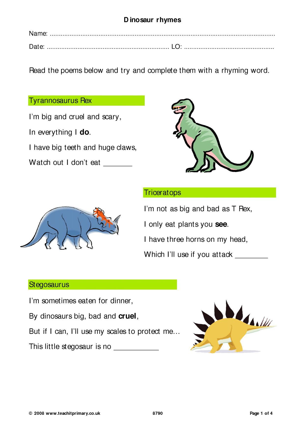 Dinosaur Rhymes