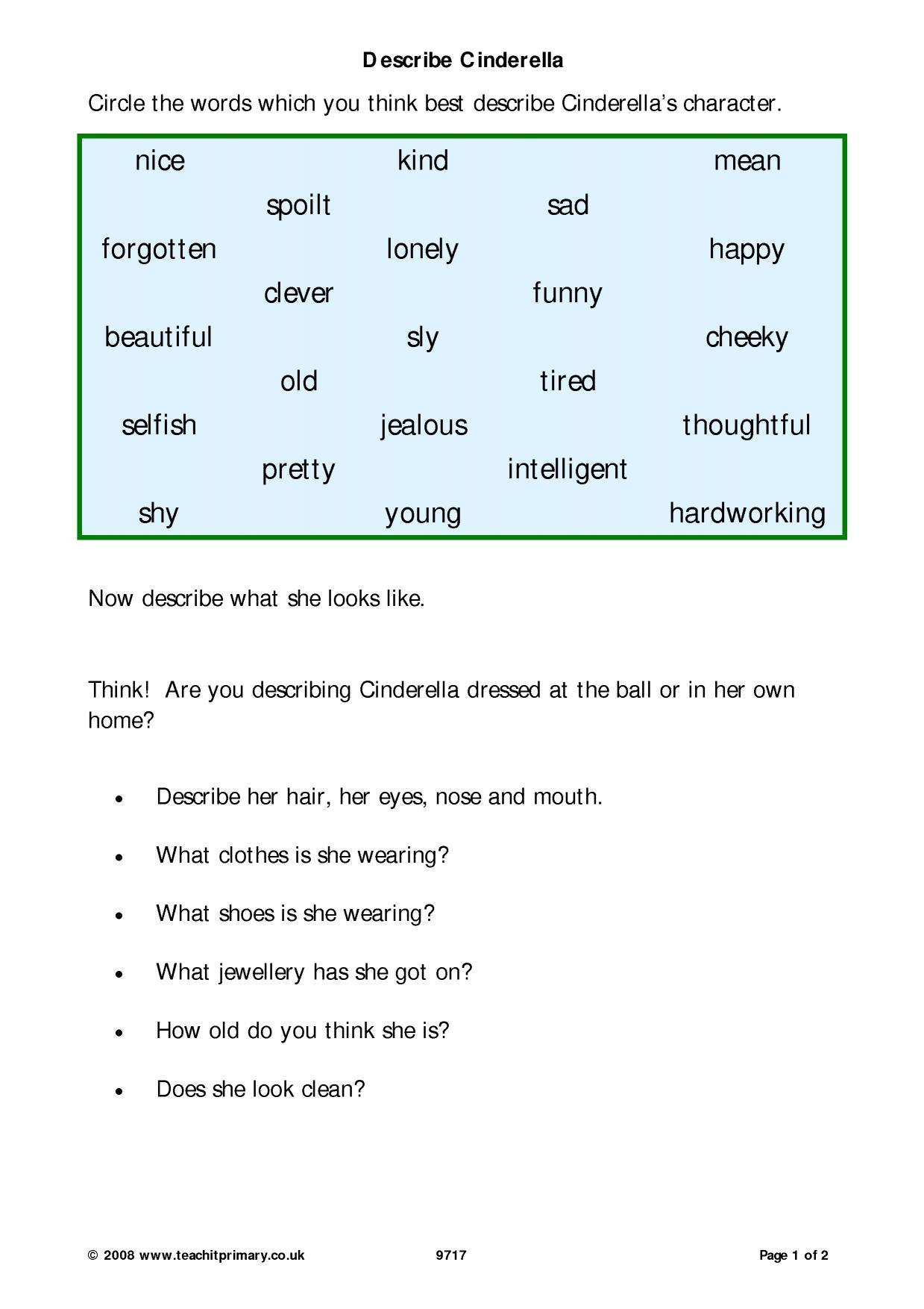 Cinderella Worksheets Ks1