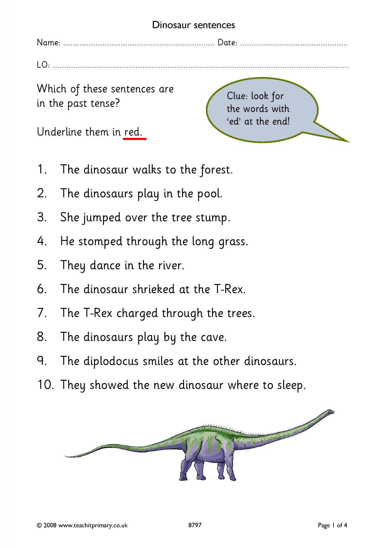 Dinosaur Sentences