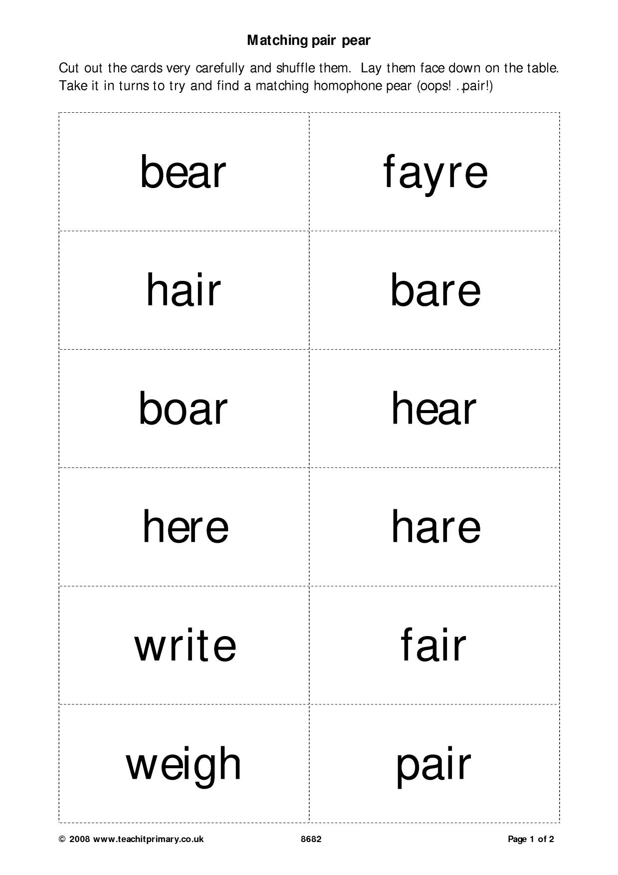 Homophones Worksheet Ks1