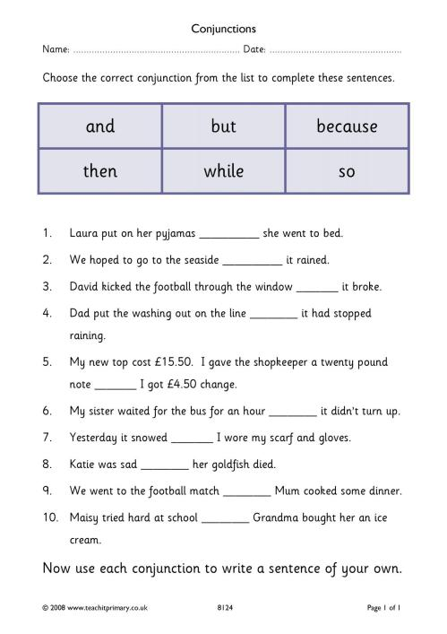 small resolution of KS2   Conjunctions and connectives   Teachit Primary