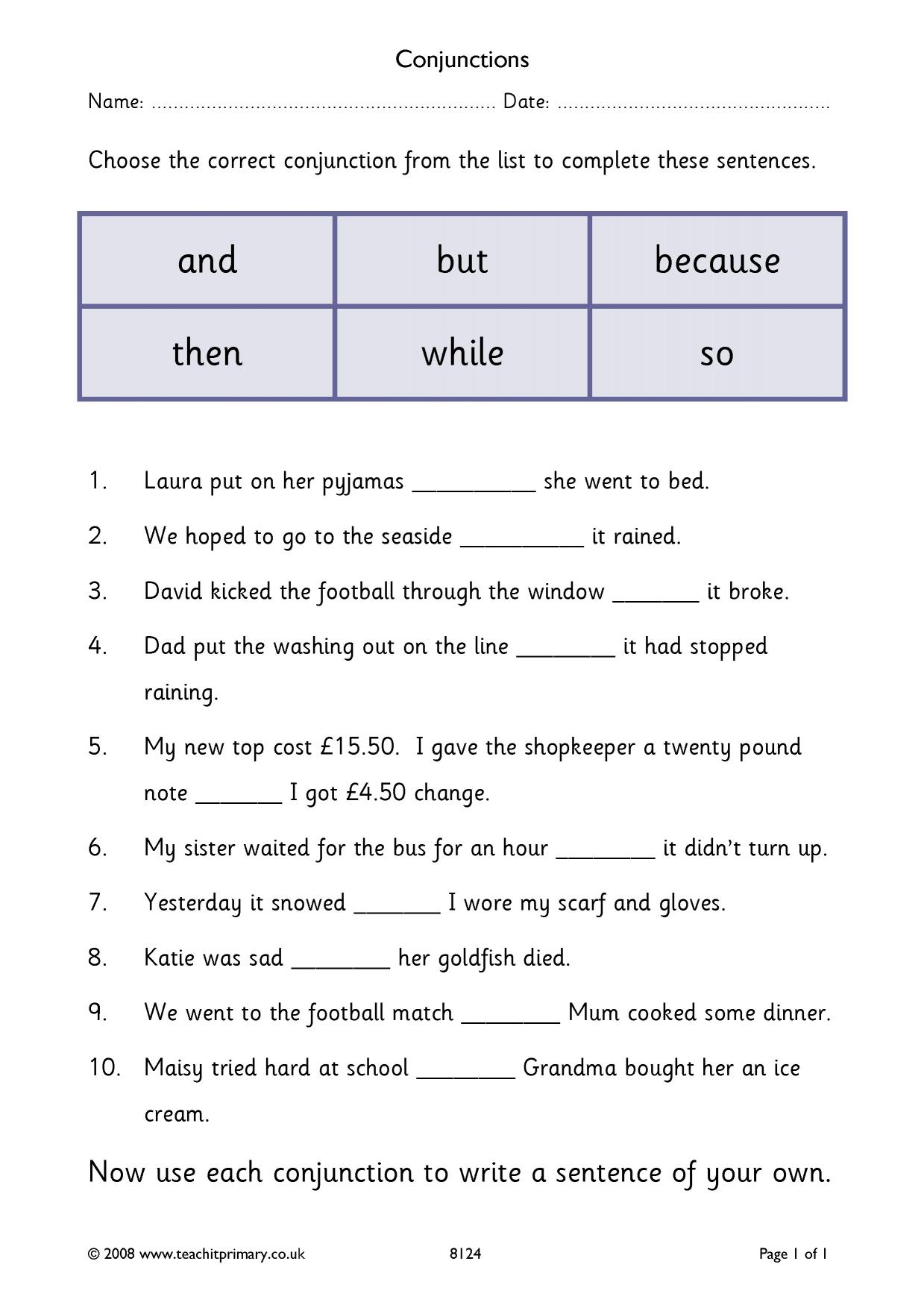 Conjunction Worksheet Homework