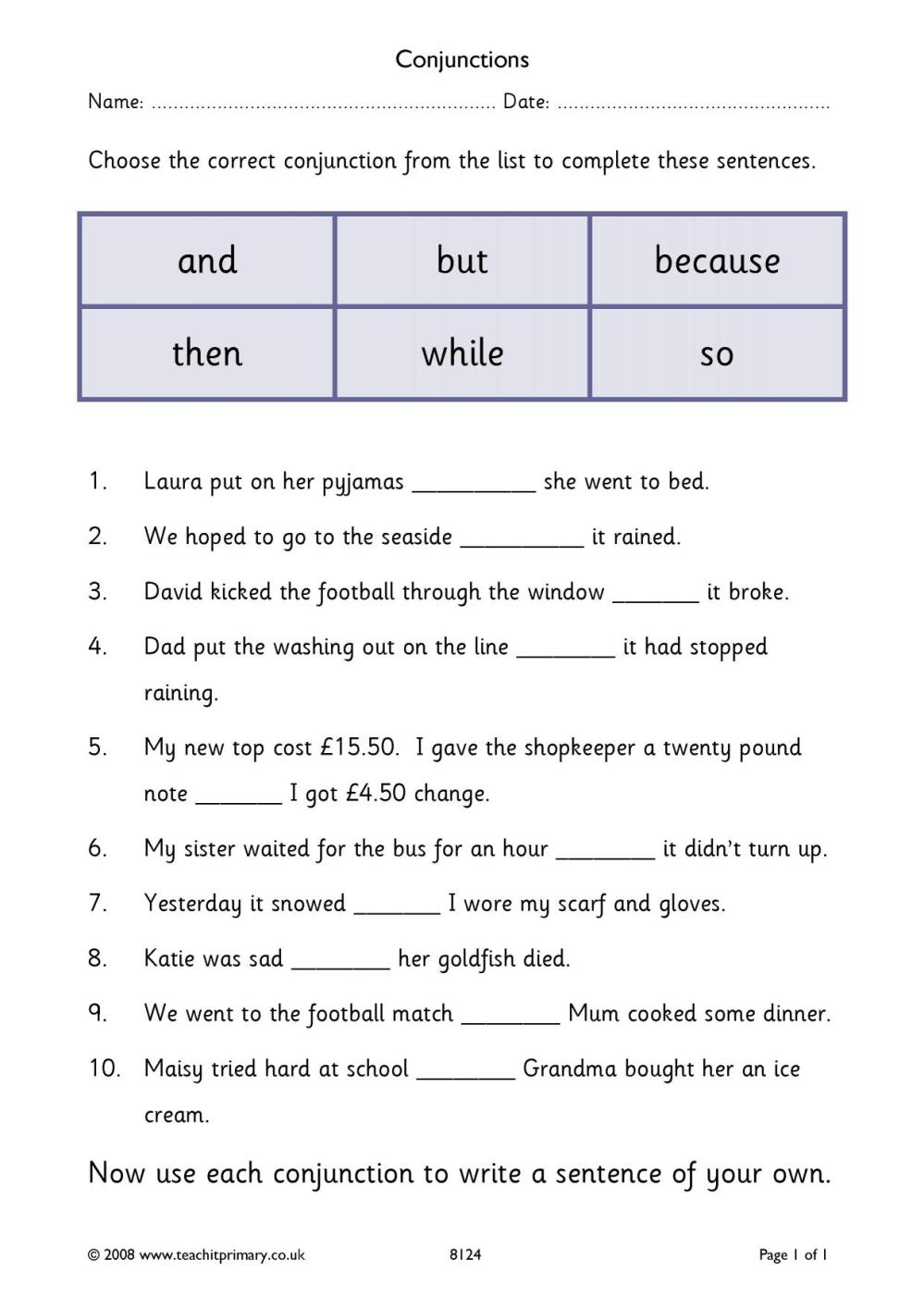 medium resolution of Cordinating Conjunctions Worksheet   Printable Worksheets and Activities  for Teachers