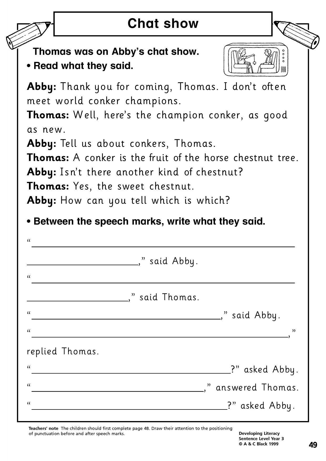 Homework Worksheet Year 3