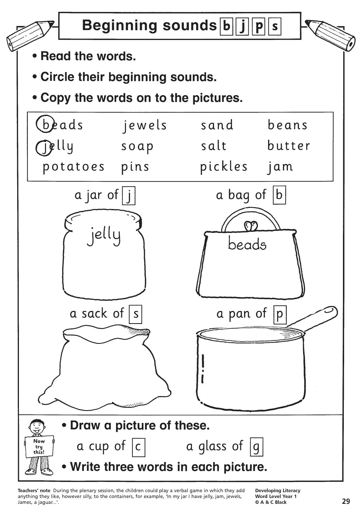 Beginning Sounds Bjps