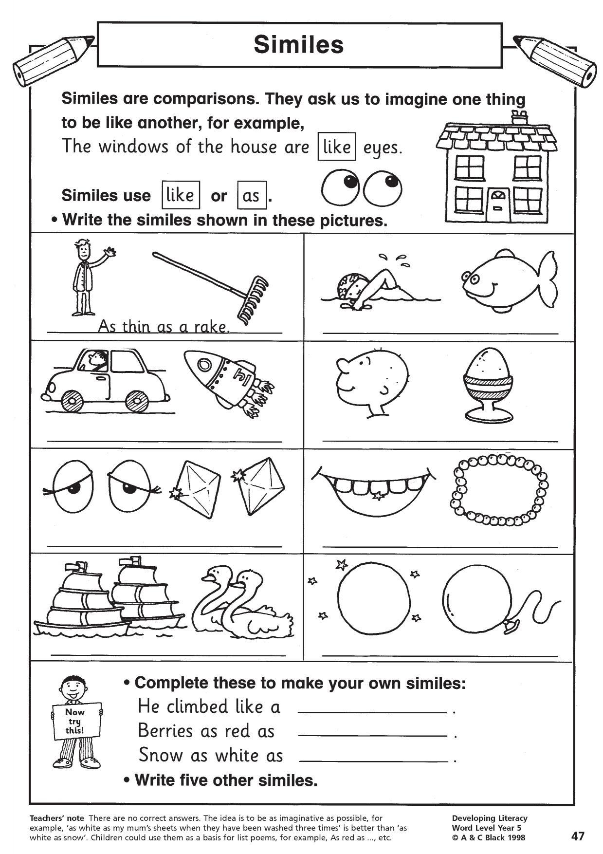 Simile Worksheets Elementary