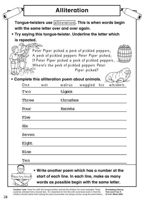 small resolution of Alliteration Poem Worksheet   Printable Worksheets and Activities for  Teachers